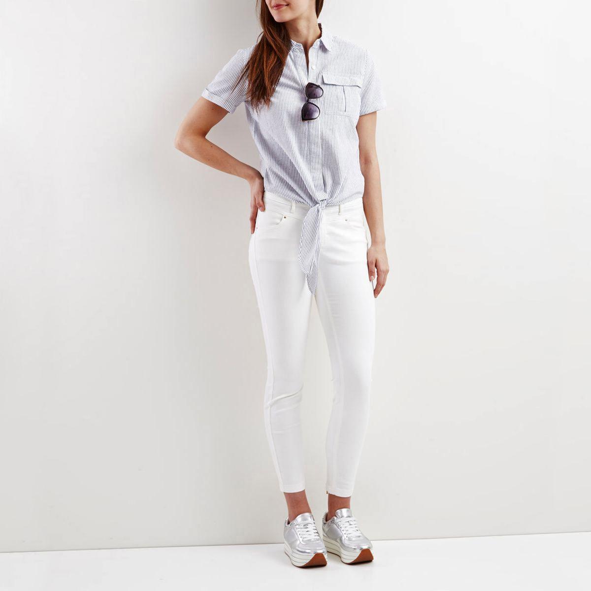 Блузка в полоску с воротником-поло