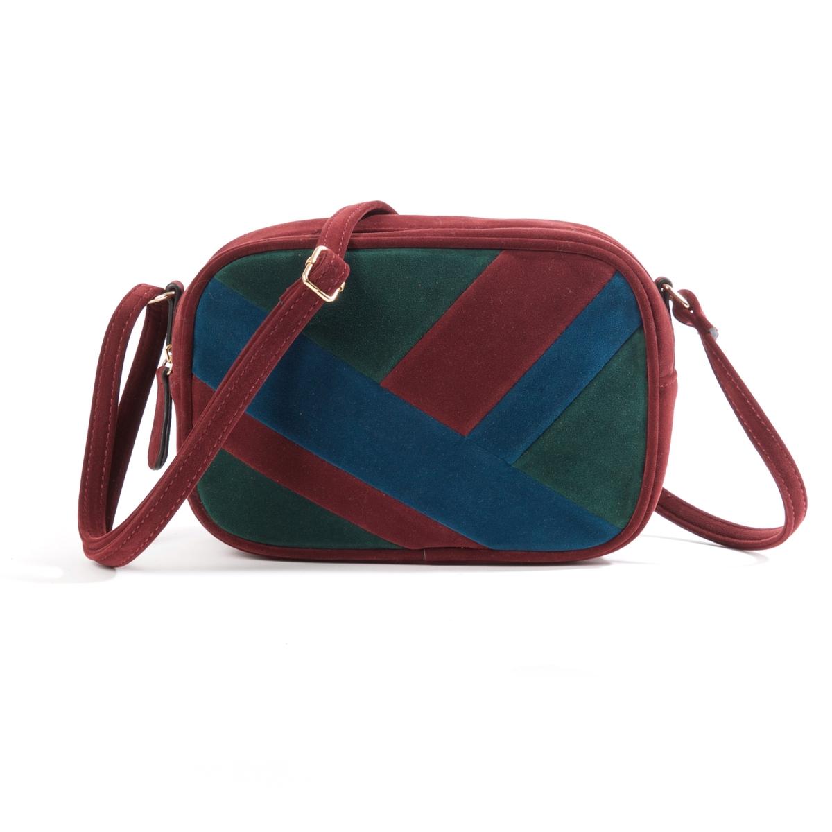 Сумка с плечевым ремнемОригинальная и женственная сумка закругленной формы и красивых цветов вмещает все самое необходимое. Состав и описание : Материал : верх из синтетики             подкладка из текстиляРазмеры : Ш.23 x В.16 x Г.8 смЗастежка : молния   1 карман для мобильного и 1 карман на молнию<br><br>Цвет: бордовый