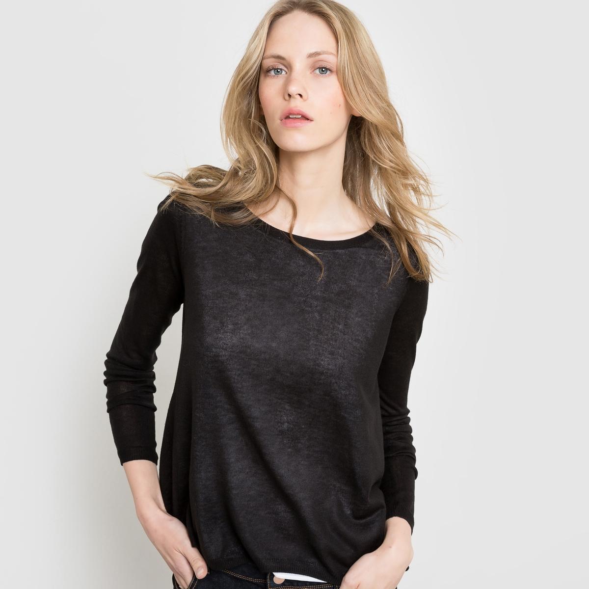 Пуловер с блузкой, 2 в 1Пуловер с длинными рукавами. Пуловер фасона 2 в 1, пуловер сверху блузки из вуали. Спина открытая, снизу белая блузка из вуали. Свободный круглый вырез. Отделка вязкой в рубчик по низу и на манжетах. Состав и описание:Материал: пуловер 100% акрила, блузка 100% полиэстера.Длина: 66 см.Марка: R Edition.Уход:- Стирать при 30°С с вещами схожих цветов.<br><br>Цвет: серый меланж,черный<br>Размер: 42/44 (FR) - 48/50 (RUS)