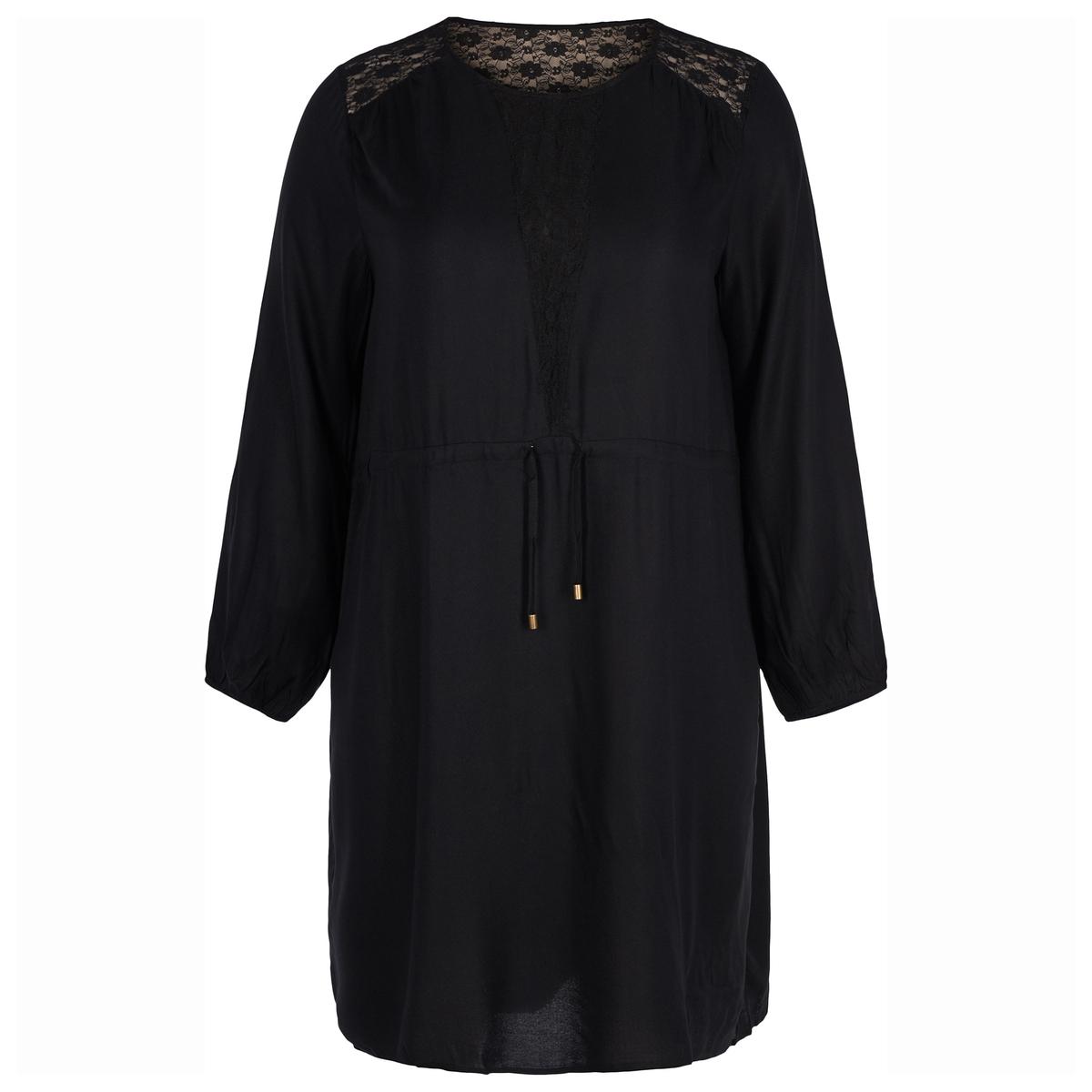 купить Платье прямое средней длины, однотонное, с длинными рукавами по цене 3149.1 рублей