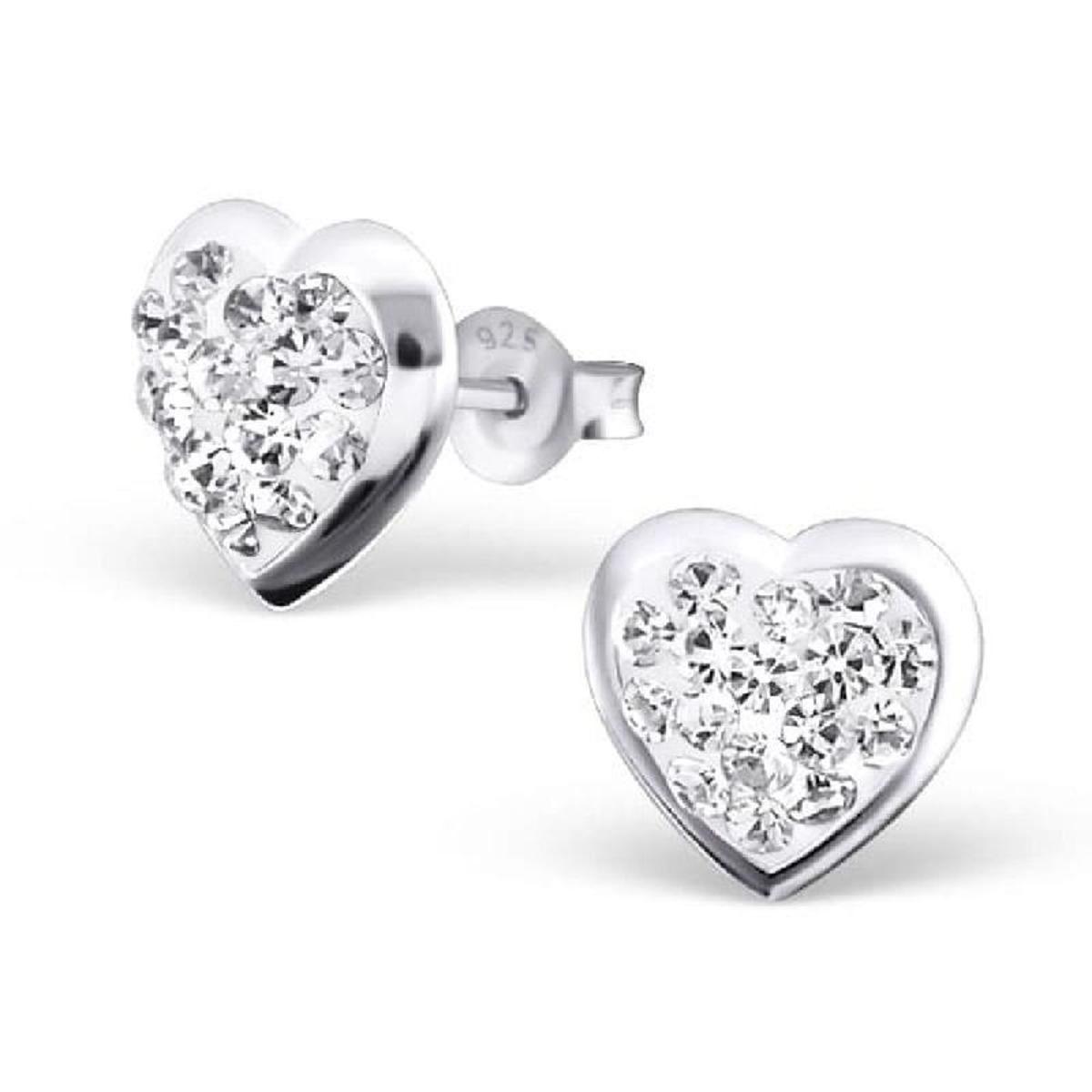 Boucles d'oreilles Rose Coeur Argent 925