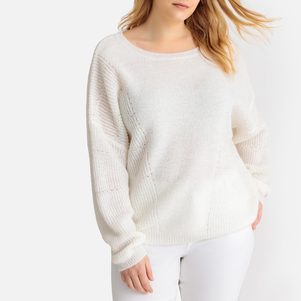 Пуловер La Redoute С круглым вырезом из плотного трикотажа 50/52 (FR) - 56/58 (RUS) белый