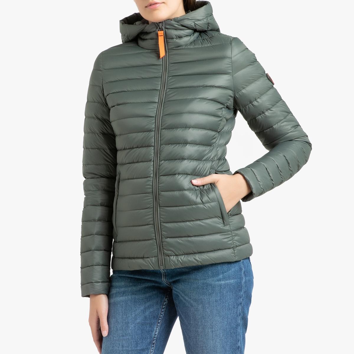 цена Куртка La Redoute Стеганая короткая с капюшоном FRANCINE MAT 4(XL) зеленый в интернет-магазинах