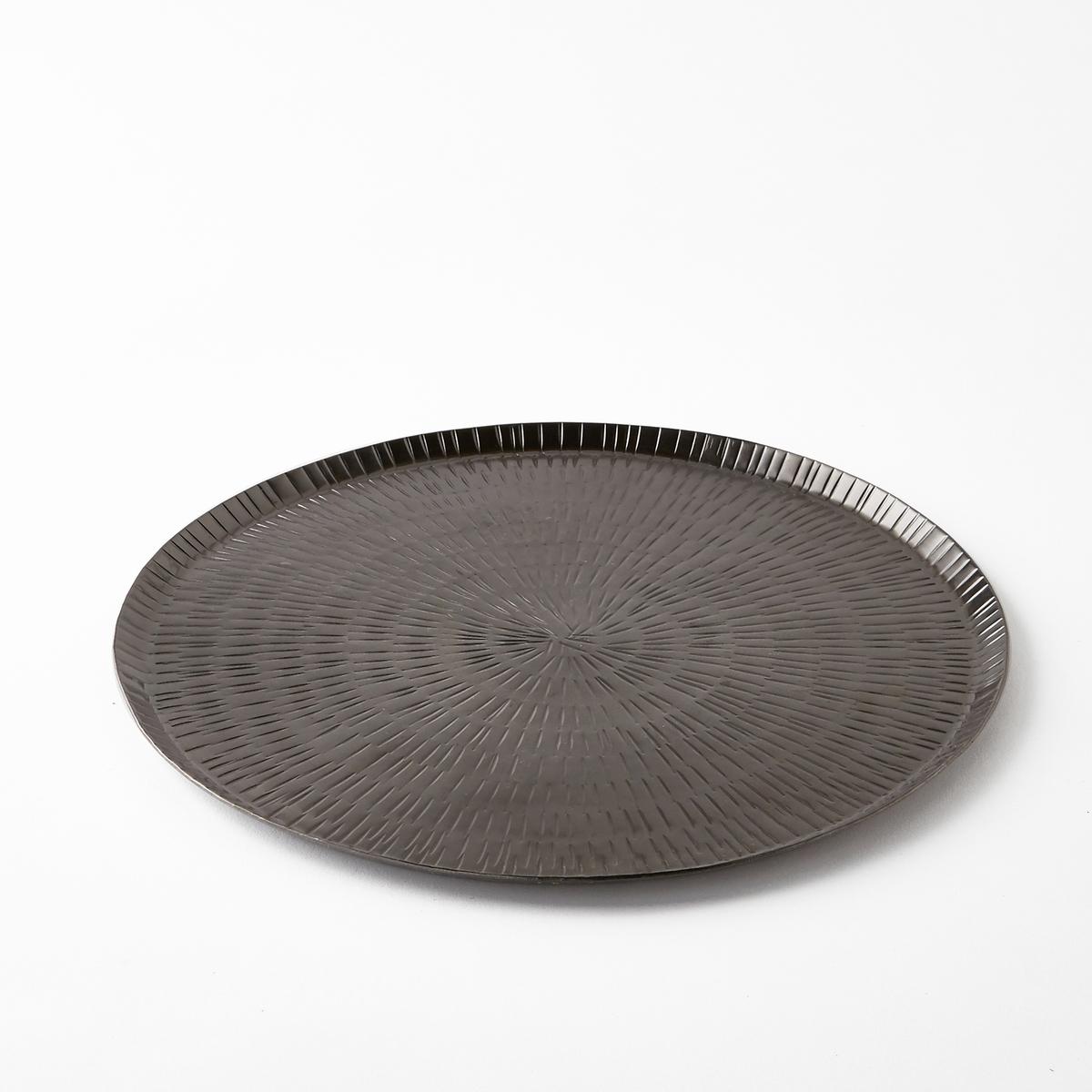 Поднос металлический кованый Sahani, диаметр 45 см<br><br>Цвет: темно-серый