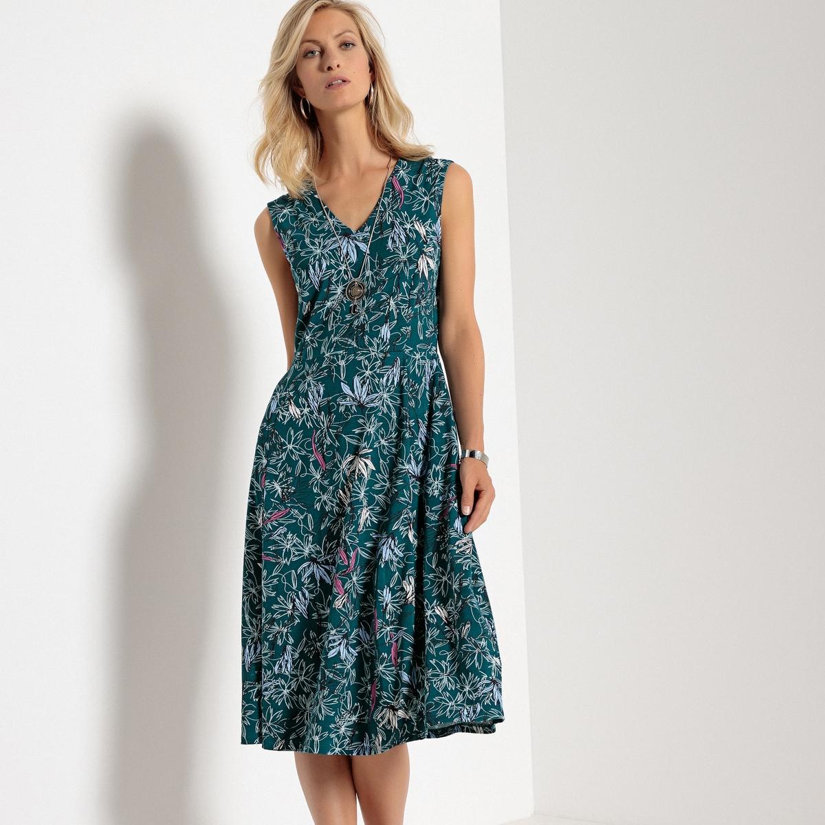 Платье с принтом, V-образным вырезом, без рукавов lovaru ™ 2015 летний стиль женщин моды платье без рукавов мини v образным вырезом высокое качество мягкие и удобные платья горячей продажи