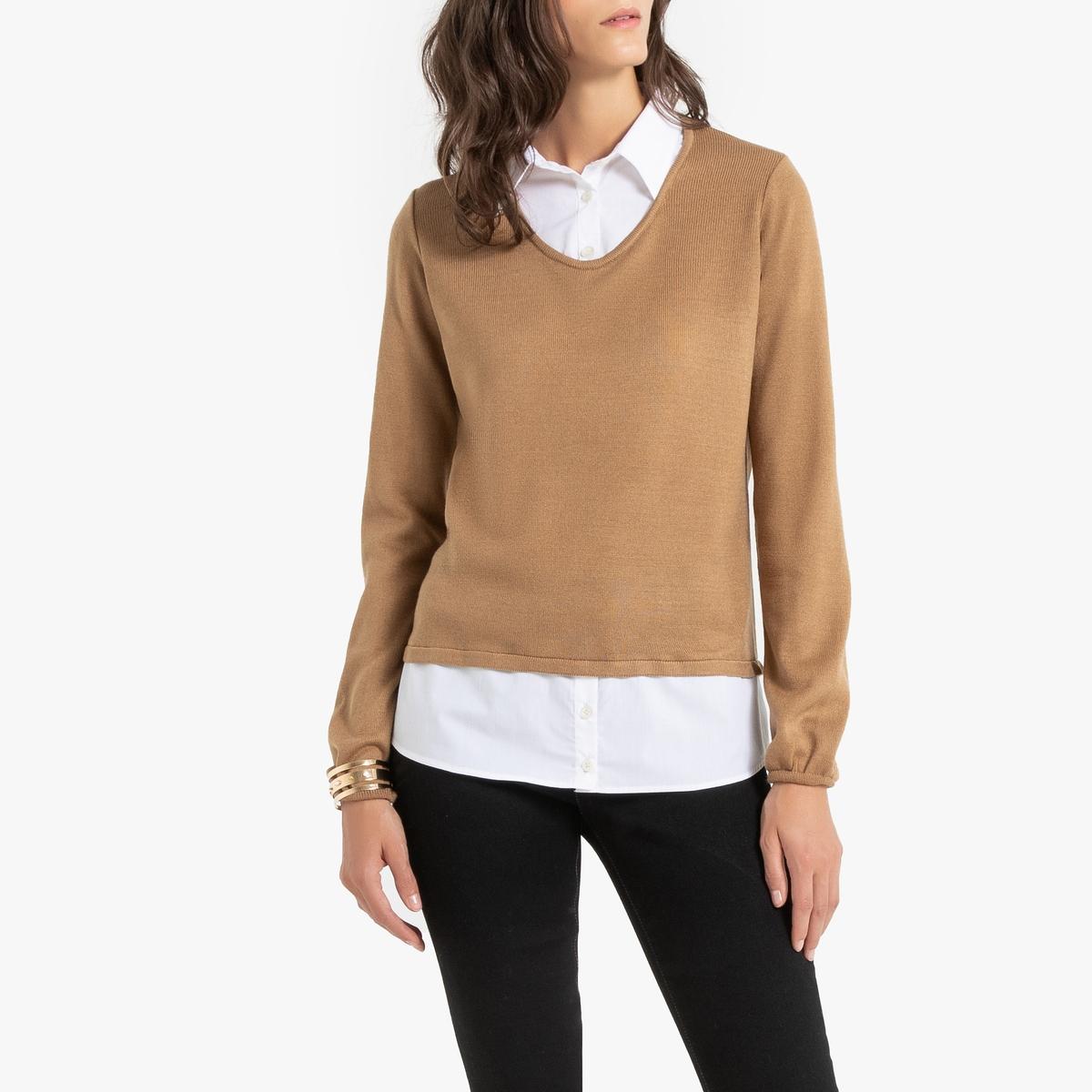 Пуловер La Redoute в рубашка из тонкого трикотажа 34/36 (FR) - 40/42 (RUS) каштановый пуловер la redoute с тунисским вырезом из тонкого трикотажа 34 36 fr 40 42 rus каштановый