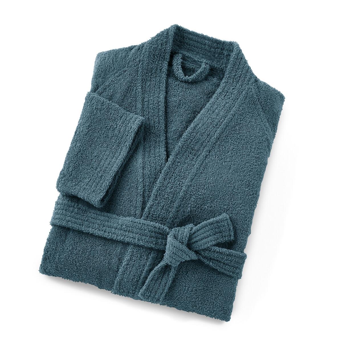 Халат-кимоно LaRedoute Для взрослых 350 гм Scenario 42/44 (FR) - 48/50 (RUS) синий 5 однотонных laredoute банных принадлежностей из махровой ткани 500 гм scenario единый размер синий