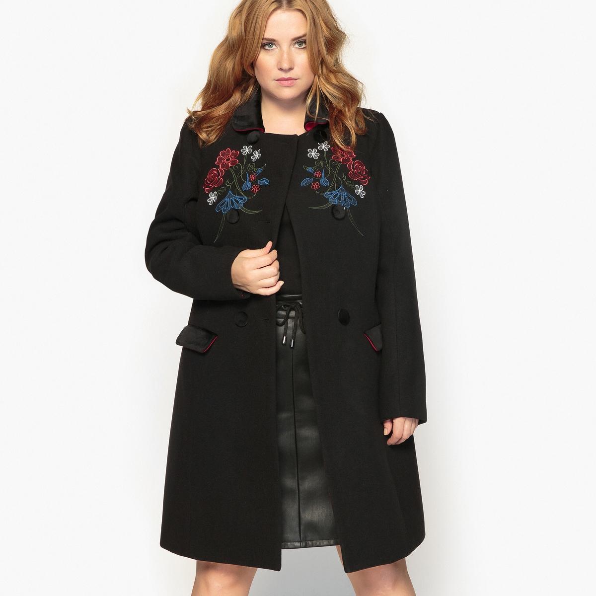 Пальто с цветочной вышивкойОписание:Пальто с модной цветочной вышивкой. Очень женственное, идеально смотрится с юбкой или платьем.Детали •  Длина  : удлиненная модель •  Отложной воротник   • Застежка на пуговицыСостав и уход •  10% вискозы, 2% эластана, 88% полиэстера • Не стирать •  Деликатная сухая чистка / не отбеливать •  Не использовать барабанную сушку •  Низкая температура глажкиТовар из коллекции больших размеров •  Цветочная вышивка. •  Велюровая отделка воротника и карманов.<br><br>Цвет: черный<br>Размер: 52 (FR) - 58 (RUS).48 (FR) - 54 (RUS).58 (FR) - 64 (RUS).50 (FR) - 56 (RUS)