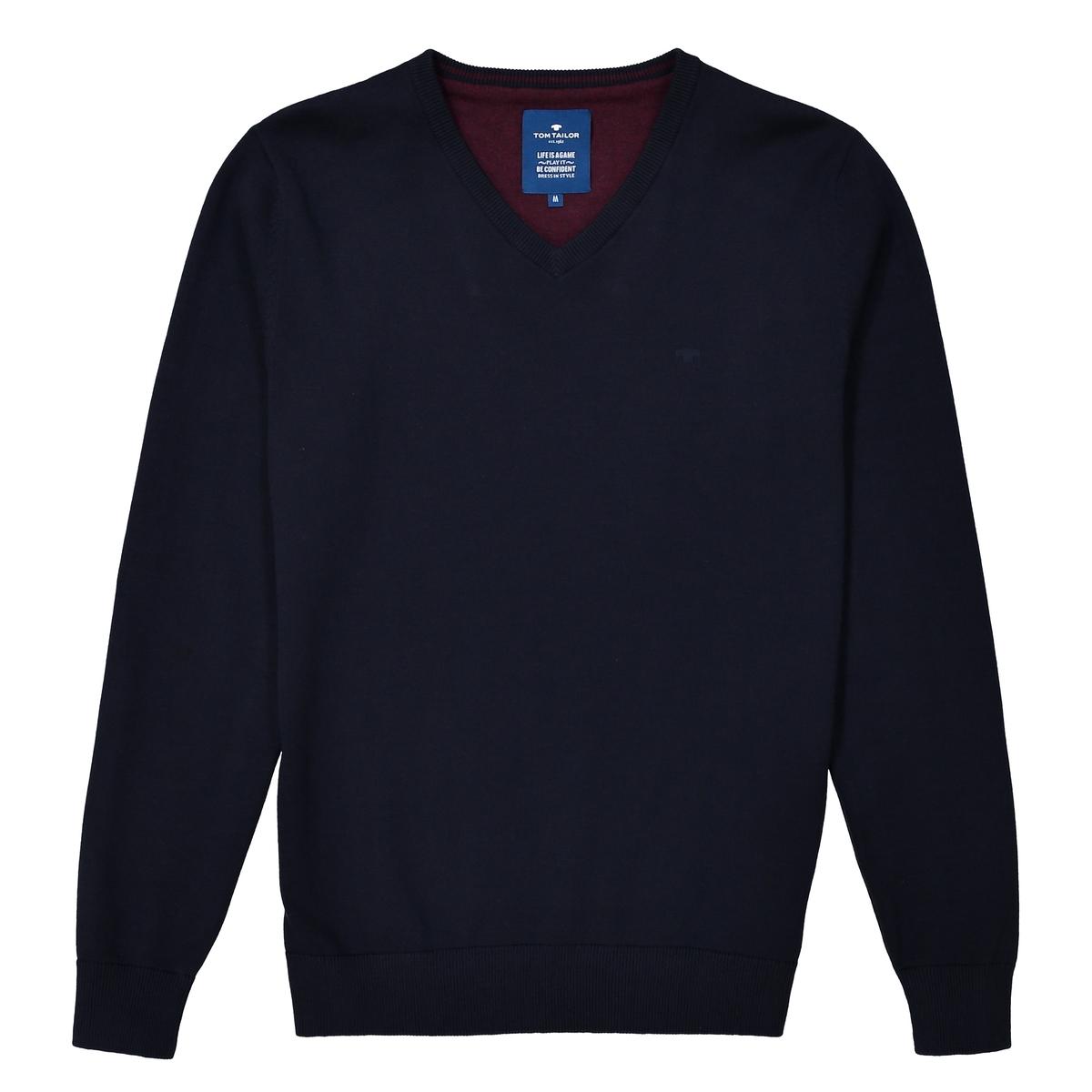 Пуловер из тонкого трикотажа с V-образным вырезомДетали •  Длинные рукава •   V-образный вырез •  Тонкий трикотажСостав и уход •  100% хлопок •  Следуйте рекомендациям по уходу, указанным на этикетке изделия<br><br>Цвет: синий морской<br>Размер: L