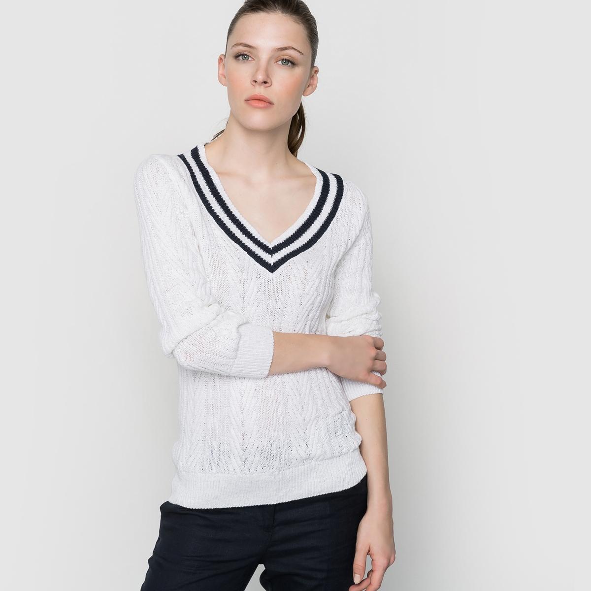 Пуловер с длинными рукавами и V-образным вырезомПуловер с длинными рукавами. Пуловер 55% льна, 45% хлопка. V-образный вырез. Трикотаж с витым узором.  Длина 60 см.<br><br>Цвет: экрю<br>Размер: 46/48 (FR) - 52/54 (RUS)