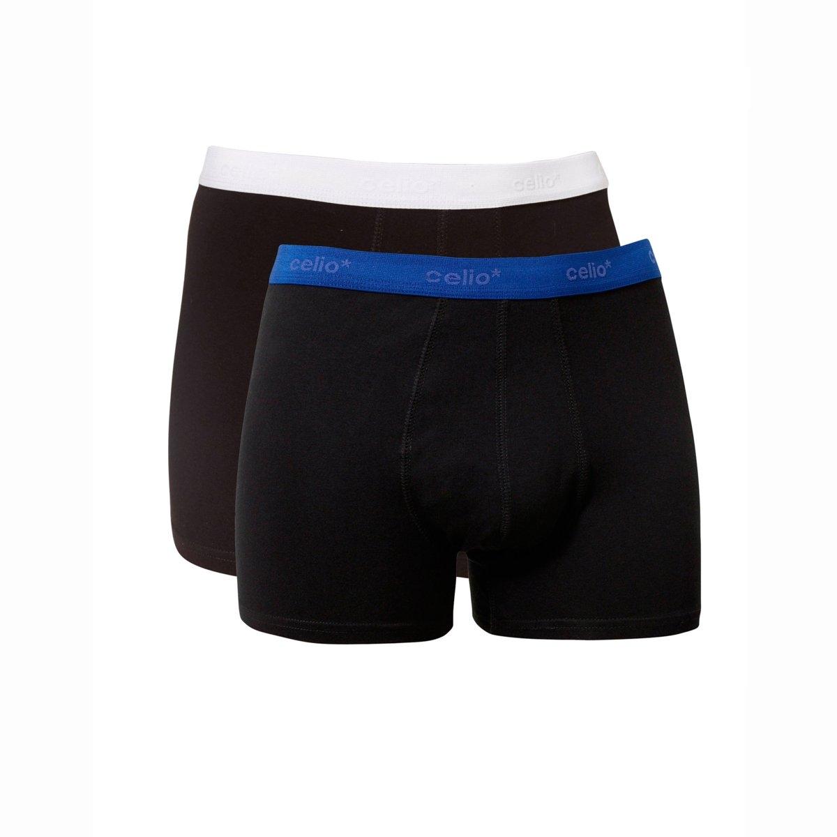 Трусы-боксеры NICELIO2, мужскиеТрусы-боксеры NICELIO2 от CELIO.95% хлопка, 5% эластана. Контрастный эластичный пояс. Два цвета : антрацит и синий.    Машинная стирка при 30 °C. Комплект из 2 трусов-боксеров.<br><br>Цвет: синий,черный + черный<br>Размер: M