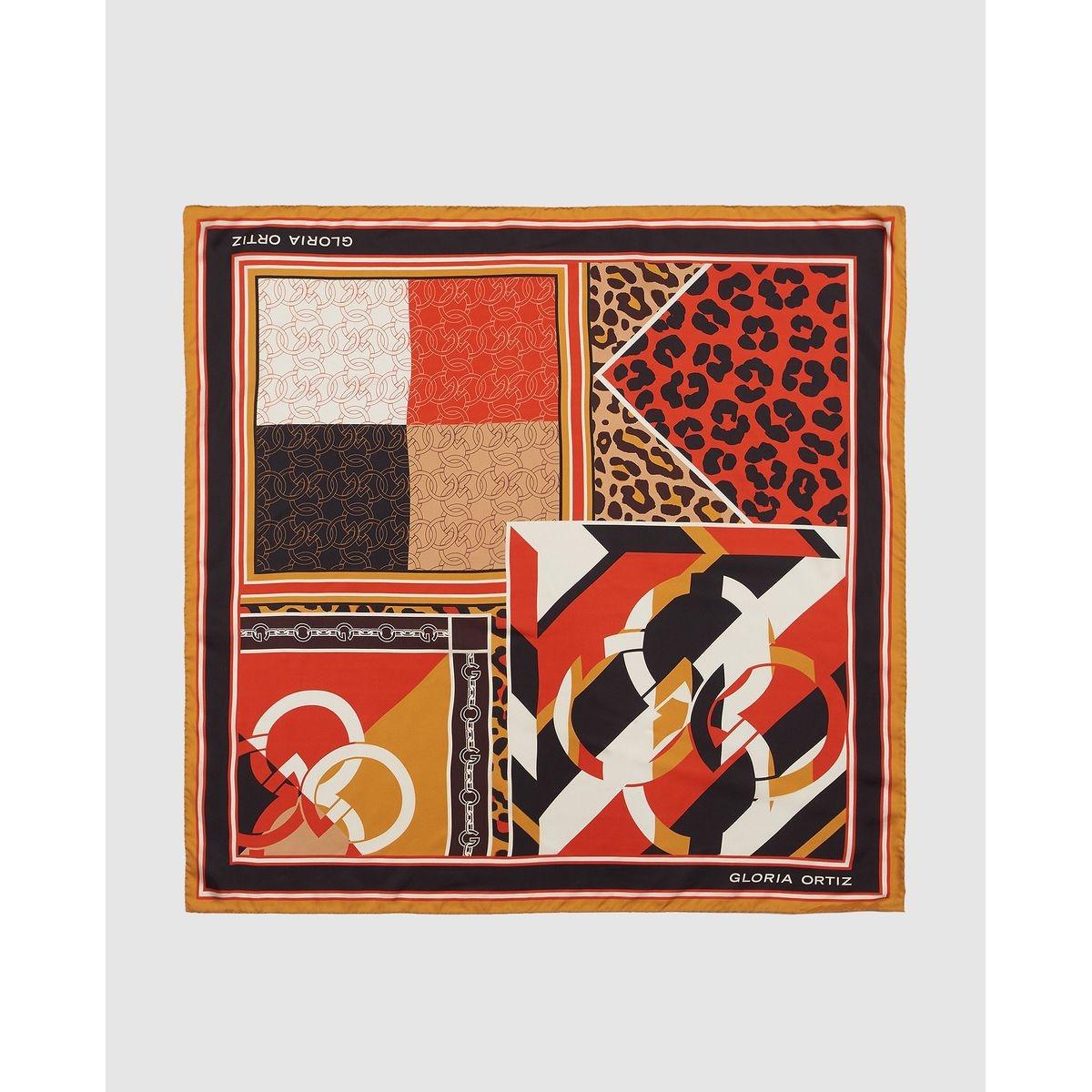 Foulard en soie à imprimé combiné