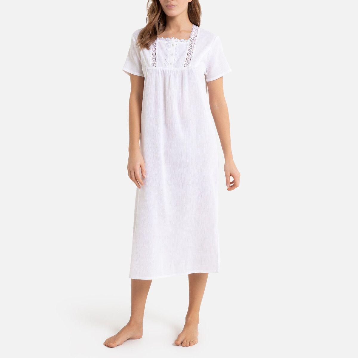 Chemise de nuit, crépon de coton