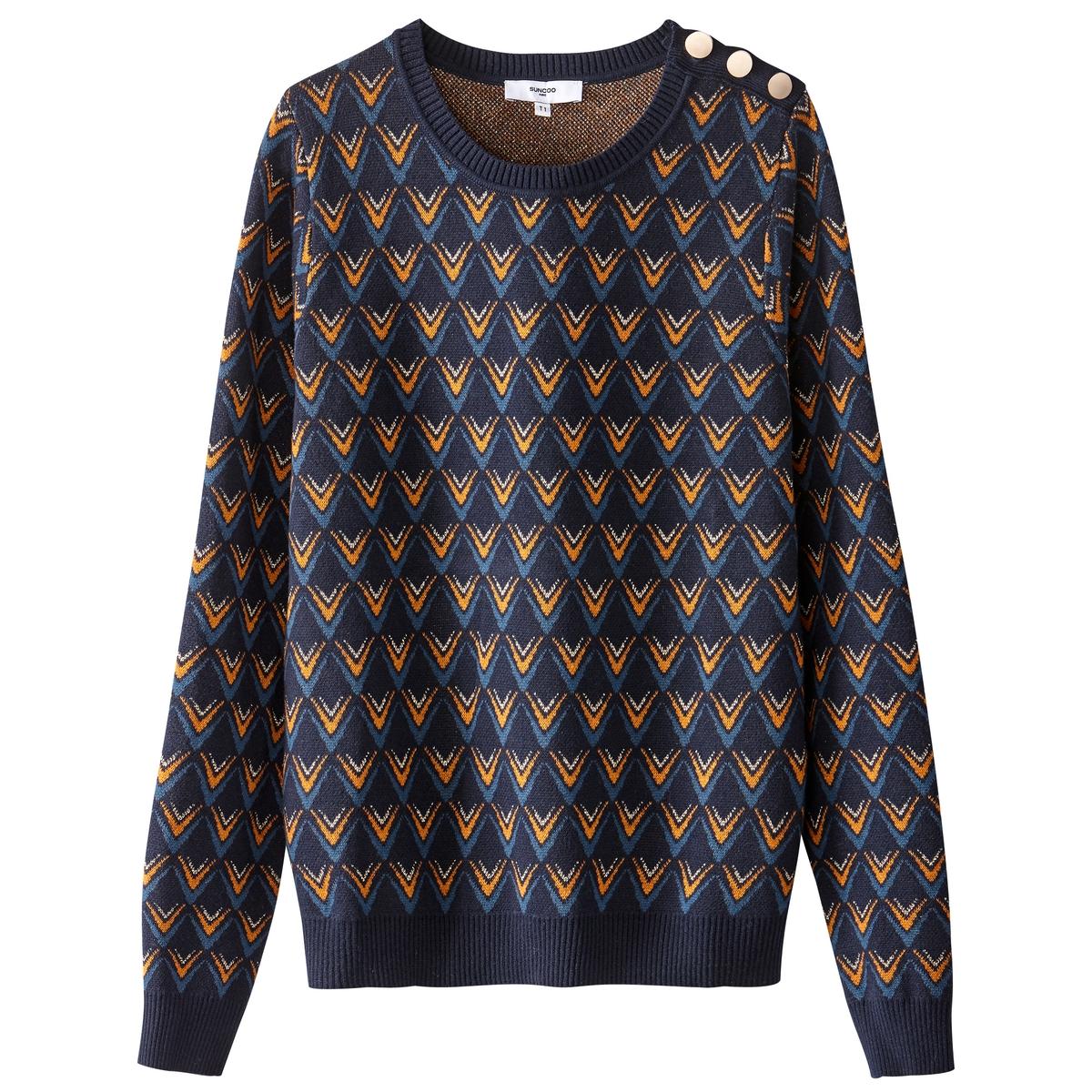 Пуловер из тонкого трикотажа с круглым вырезом и жаккардовым рисунком пуловер с жаккардовым рисунком manitou