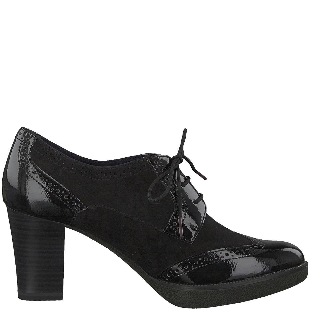 Ботинки-дерби кожаные FeeДетали •  Ботинки-дерби •  Высота каблука : 7,5 см •  Застежка : Шнуровка •  Круглый мысокСостав и уход •  Верх 50% козьей кожи, 50% синтетического материала •  Подкладка 50% кожи, 50% текстиля<br><br>Цвет: черный<br>Размер: 39