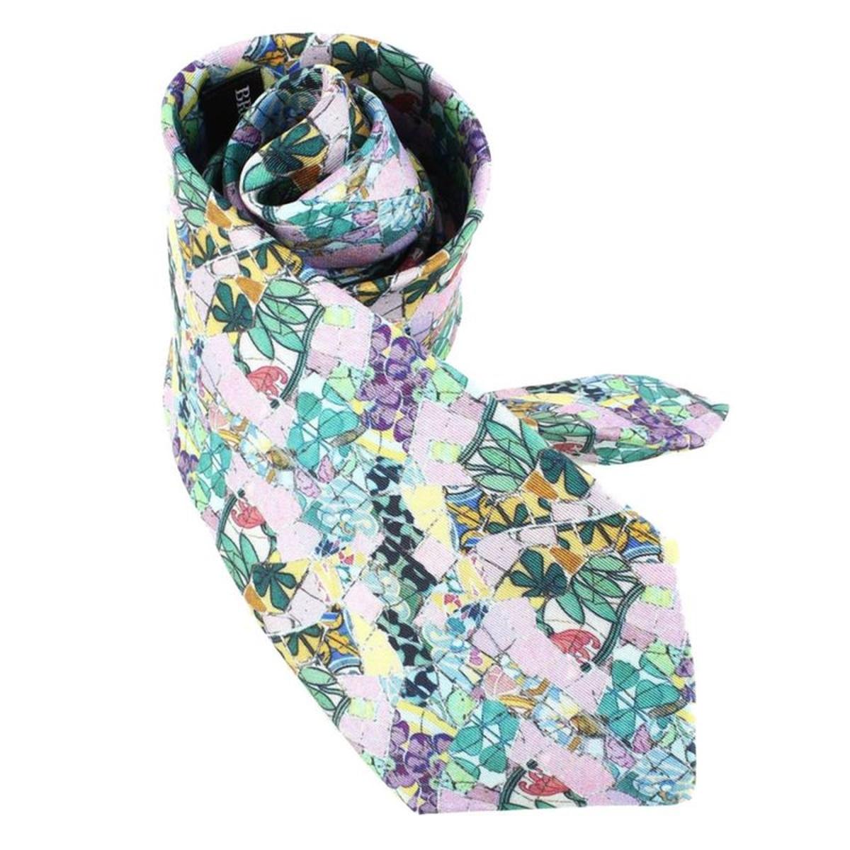 Cravate Lyonnaise  en soie  GAUDI FLEURS MAURESQUES, Made in France