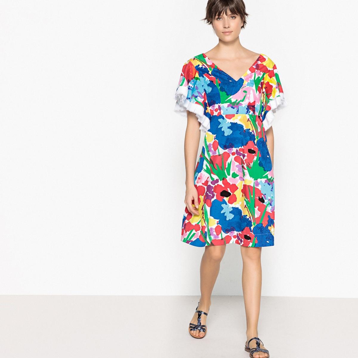 Платье-миди расклешенное с цветочным принтом
