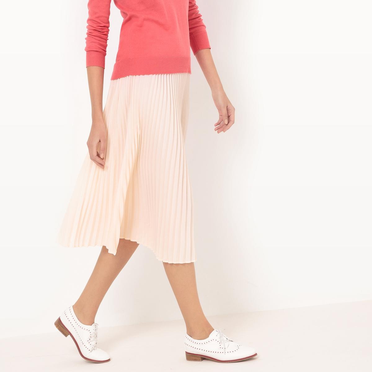Юбка с плиссировкой, длина мидиМатериал : 100% полиэстера       Рисунок : Однотонная модель      Длина юбки : до колен        Стирка : машинная стирка при 30 °С      Уход : сухая чистка и отбеливание запрещены.       Глажка : при низкой температуре<br><br>Цвет: розовый телесный<br>Размер: 48 (FR) - 54 (RUS).46 (FR) - 52 (RUS).44 (FR) - 50 (RUS).42 (FR) - 48 (RUS).34 (FR) - 40 (RUS)