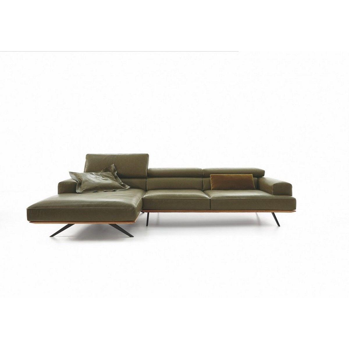 Canapé avec chaise longue large profondeur assise modifiable cuir TEMPERANT PM