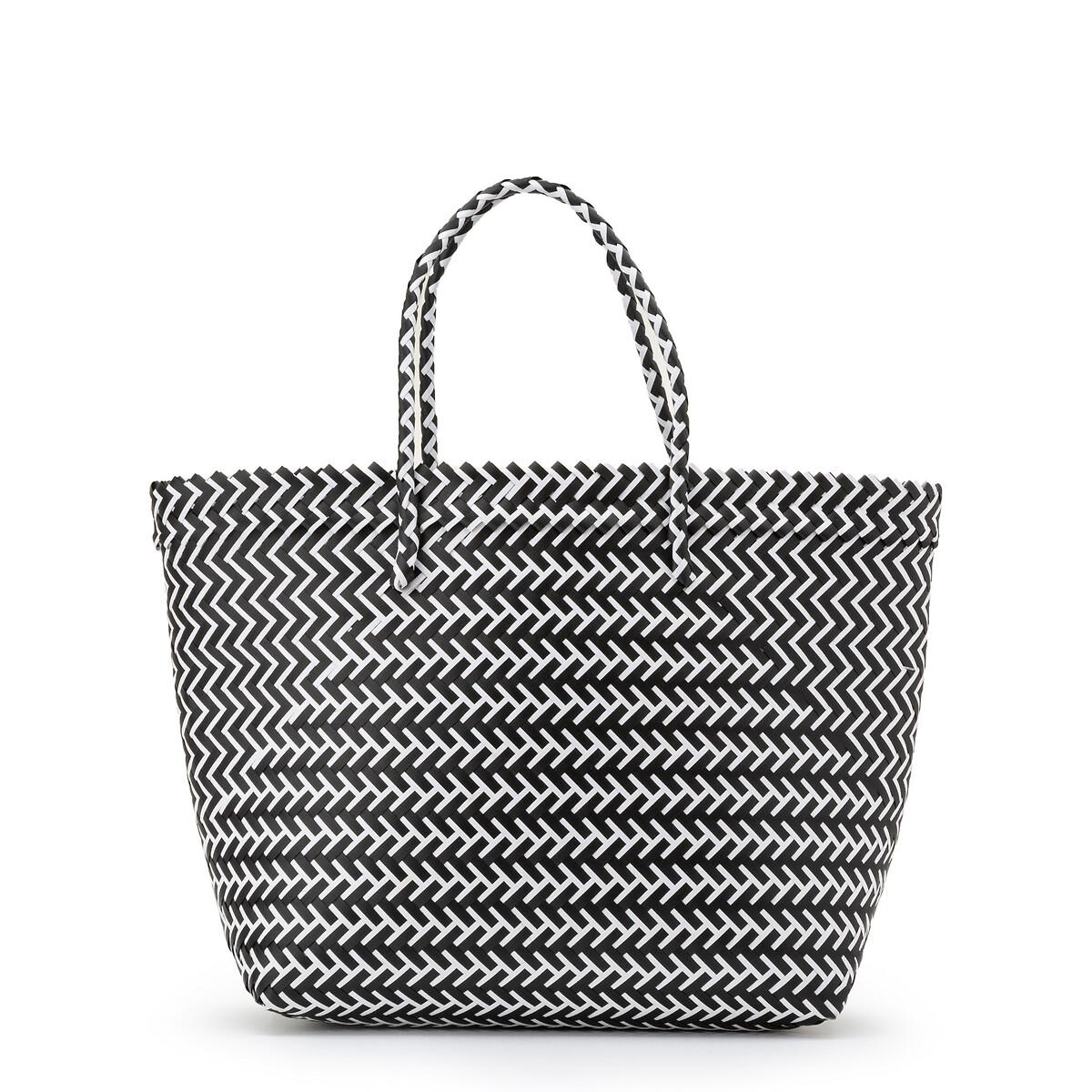 цена Сумка-корзинка La Redoute С графическим принтом единый размер белый онлайн в 2017 году