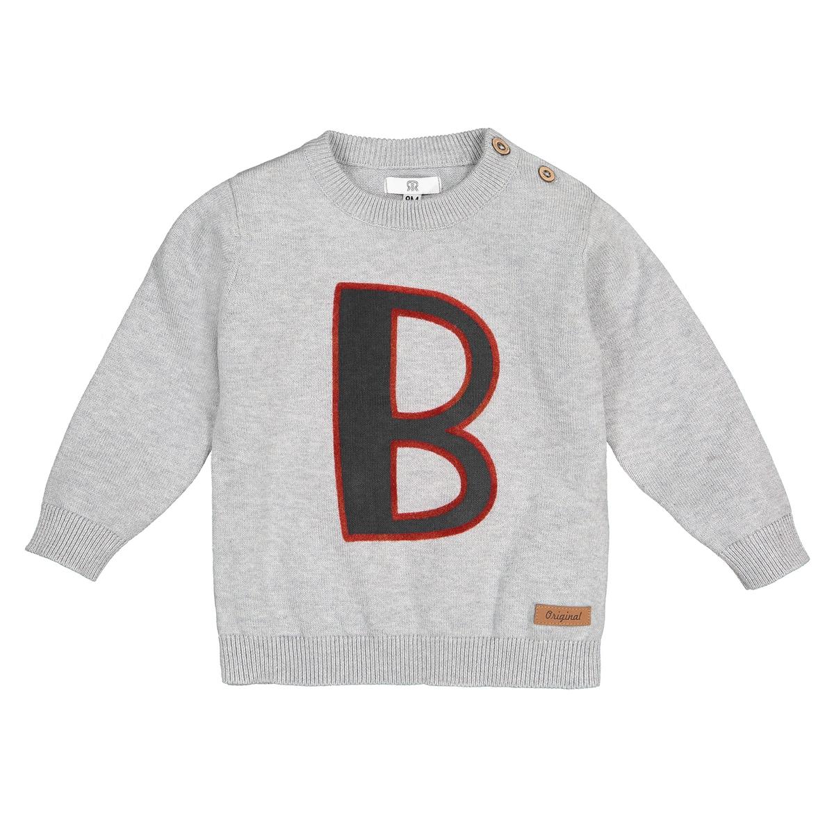 цена на Пуловер La Redoute С круглым вырезом и принтом спереди мес- года 9 мес. - 71 см серый
