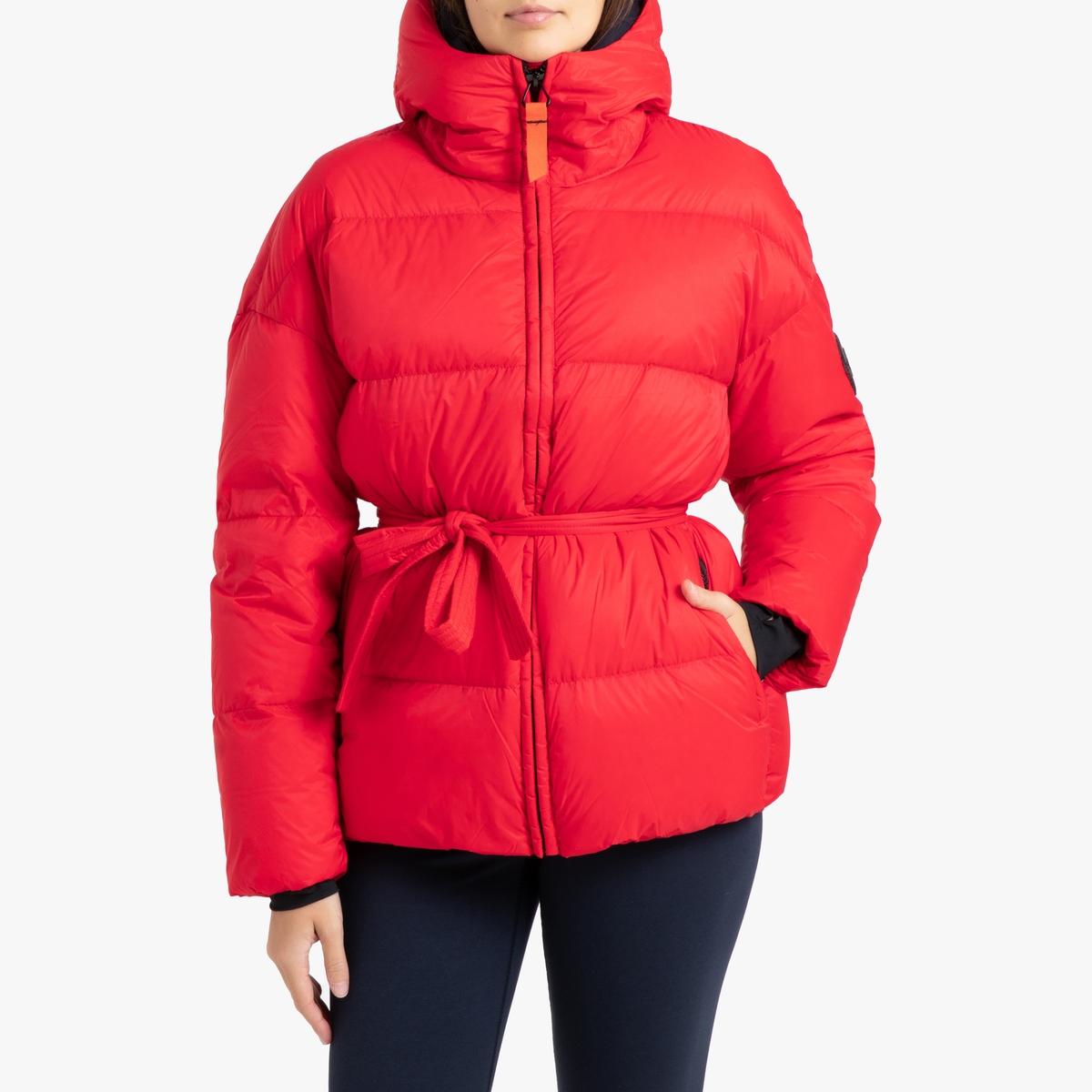 цена Куртка La Redoute Стеганая короткая с капюшоном MIKA MAT L красный в интернет-магазинах