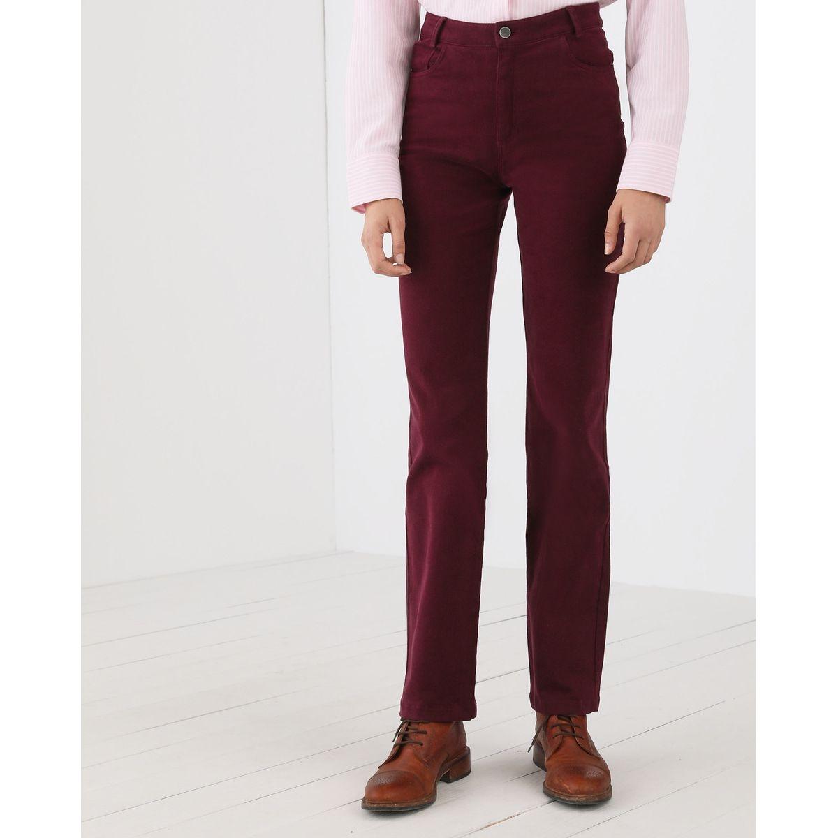 Pantalon droit cinq poches peau de pêche