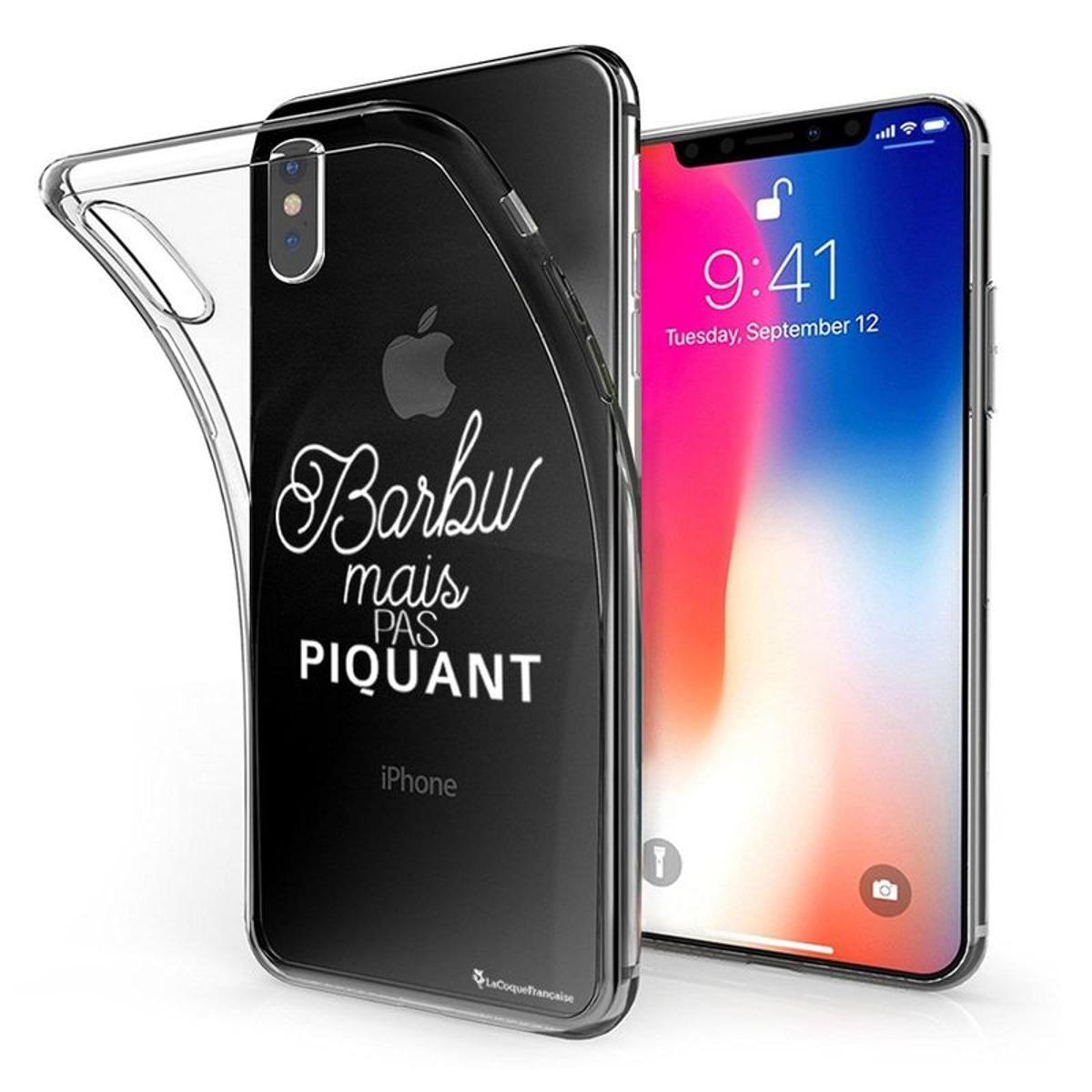 Coque iPhone X iPhone XS souple transparente, Barbu mais pas piquant BLANC, La Coque Francaise®