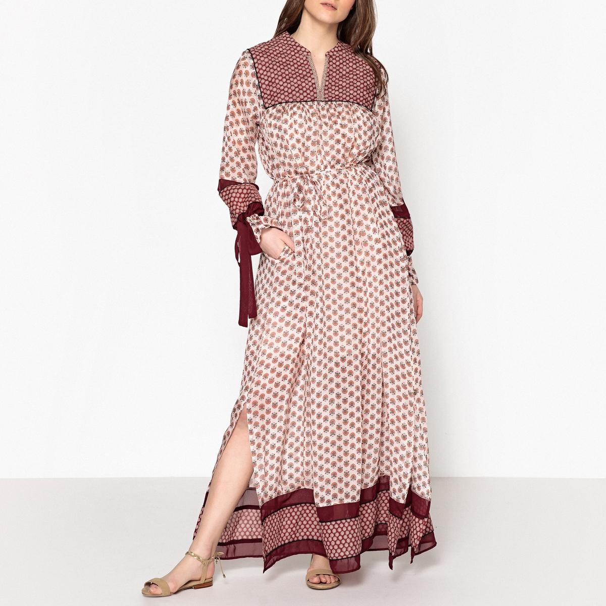 Платье длинное с рисунком