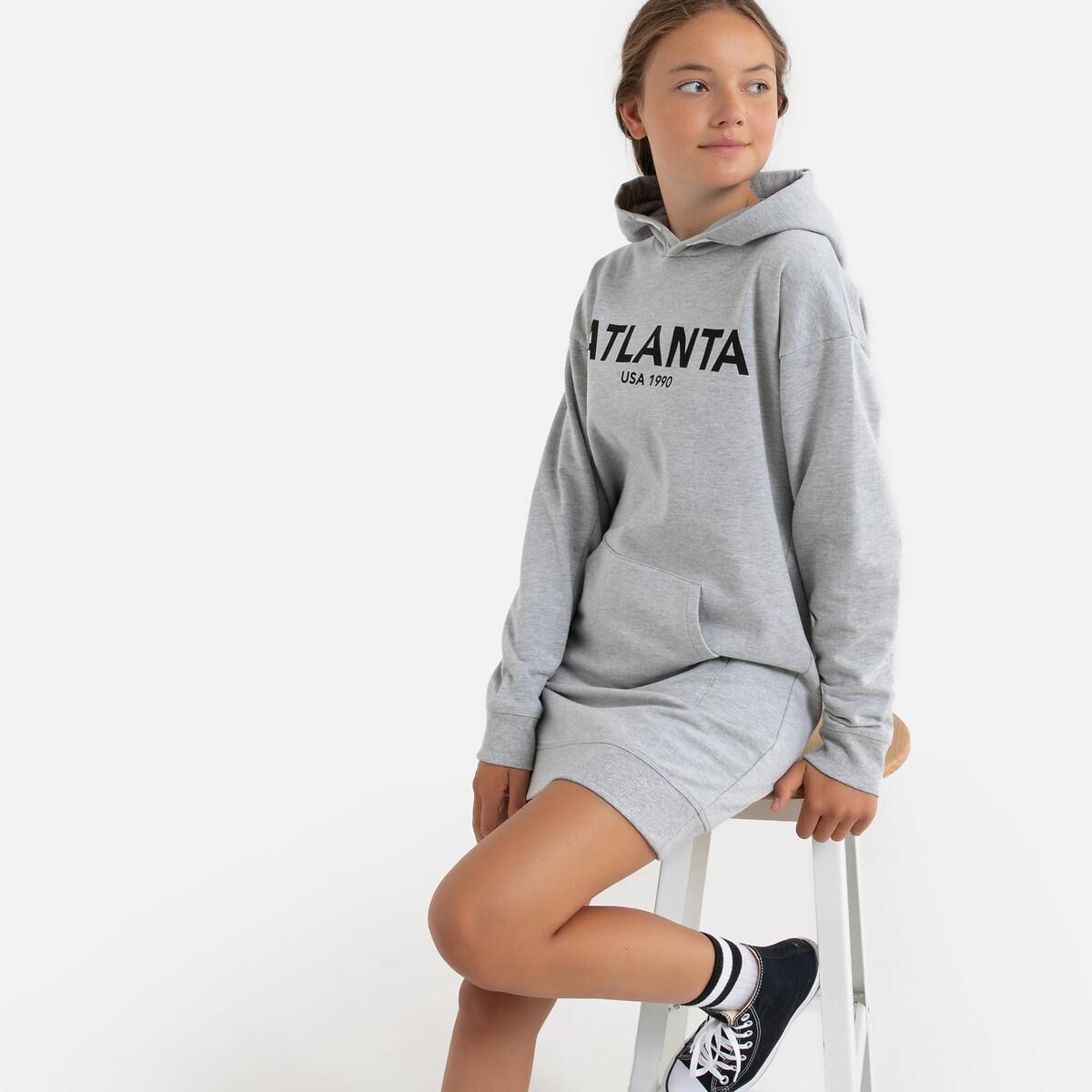 Платье-пуловер LaRedoute С капюшоном из мольтона 10-18 лет 16 - 162 см серый