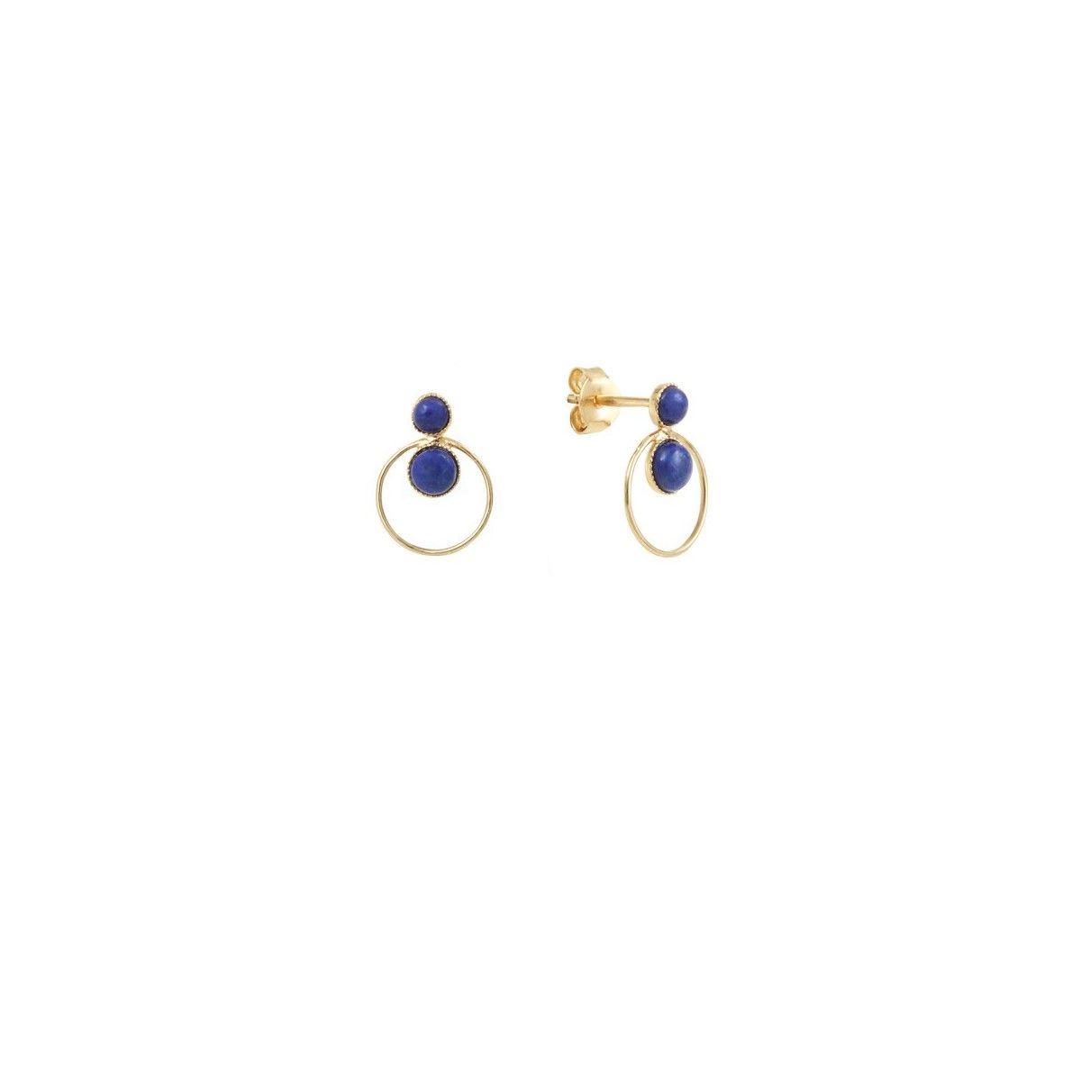 Boucles d'oreilles dorées lapis lazuli Sunset
