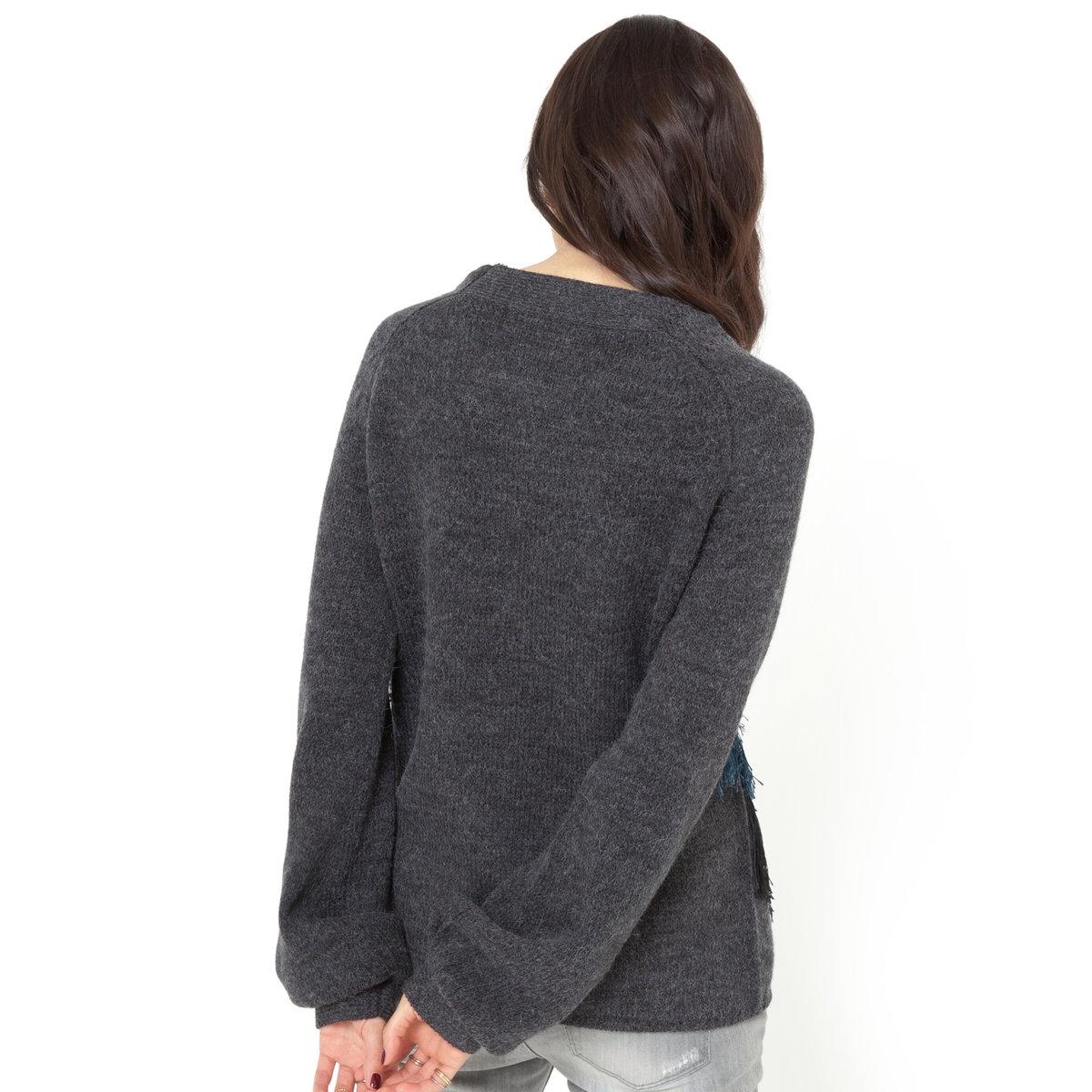 Пуловер из трикотажа с V-образным вырезом и бахромой спередиПуловер из трикотажа: 70% акрила, 20% шерсти, 10% шерсти альпаки. Длинные рукава, V-образный вырез. Бахрома спереди. Однотонная спинка.Длина 62 см<br><br>Цвет: темно-серый