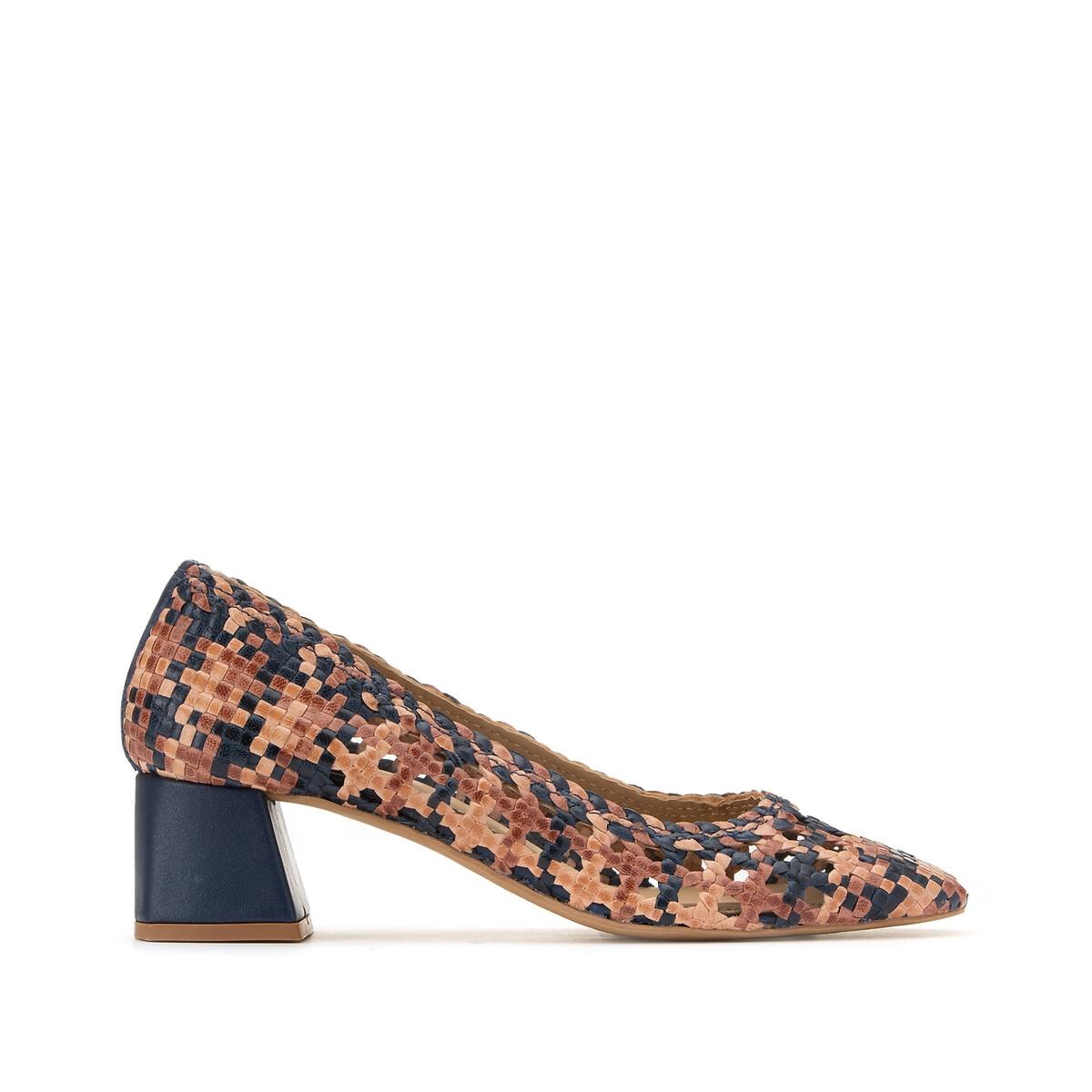 Туфли LaRedoute Кожаные плетеные на широком каблуке 40 разноцветный