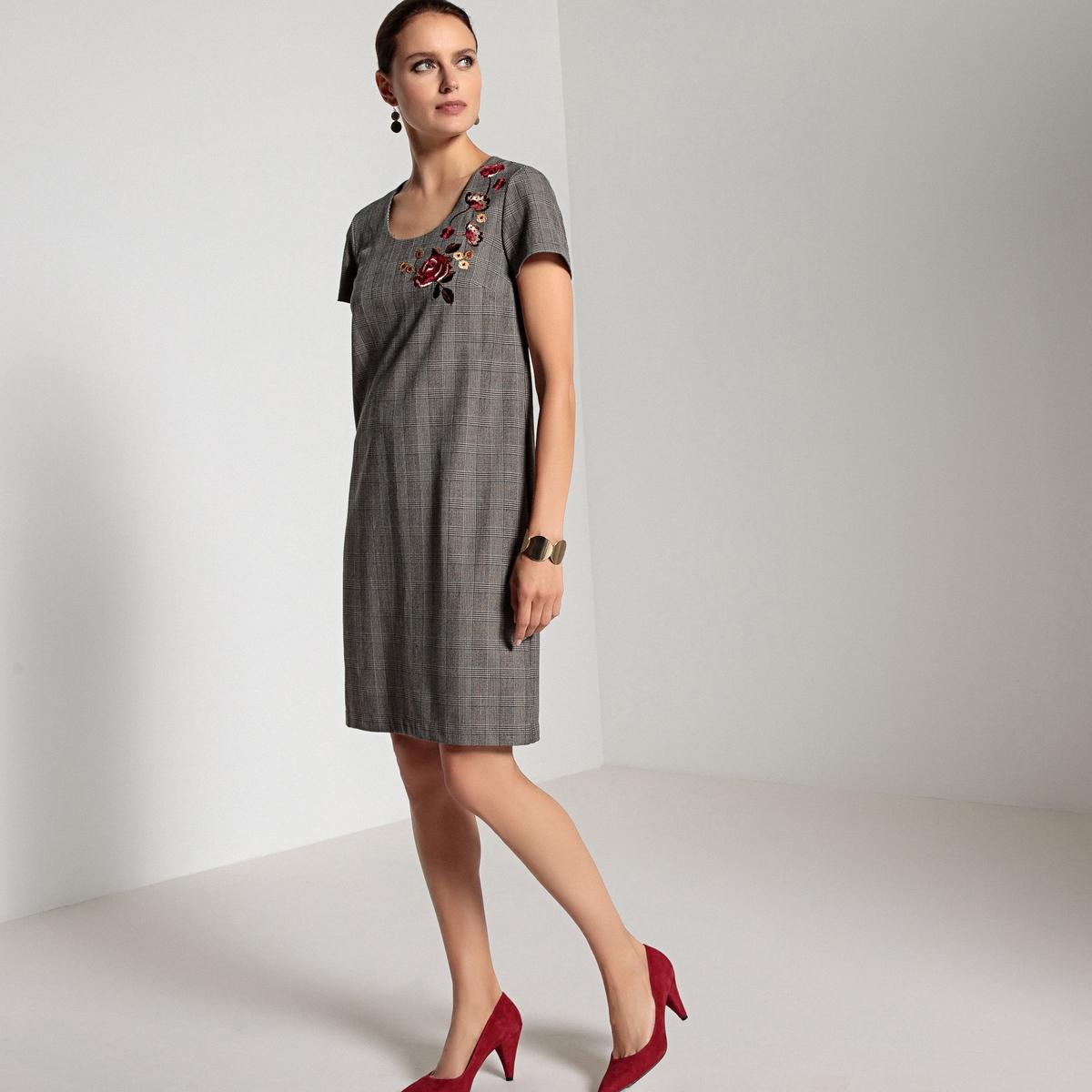 Платье прямое с принтом, вышивкой, и длинными рукавами ANNE WEYBURN