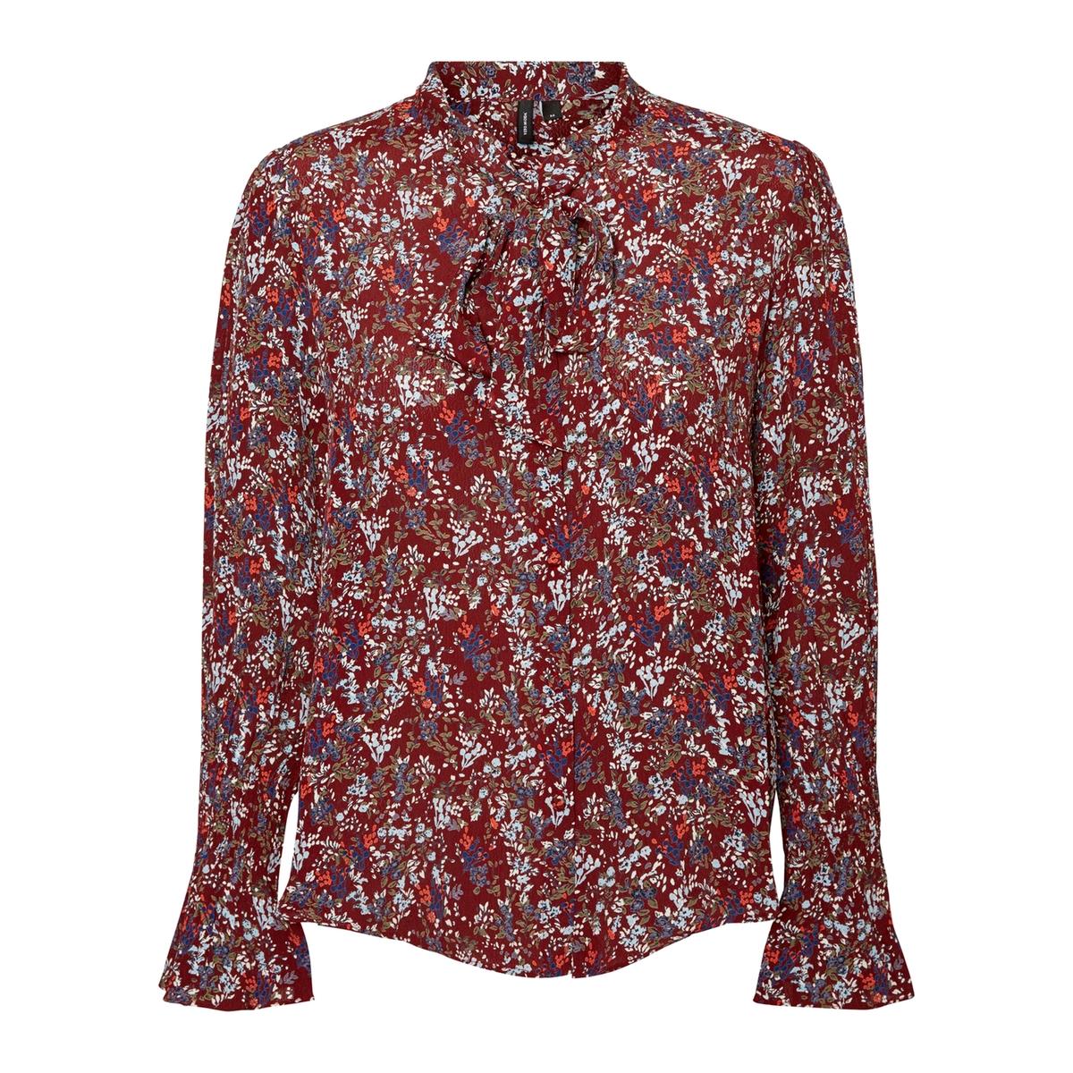 Рубашка с воротником-поло и цветочным рисунком