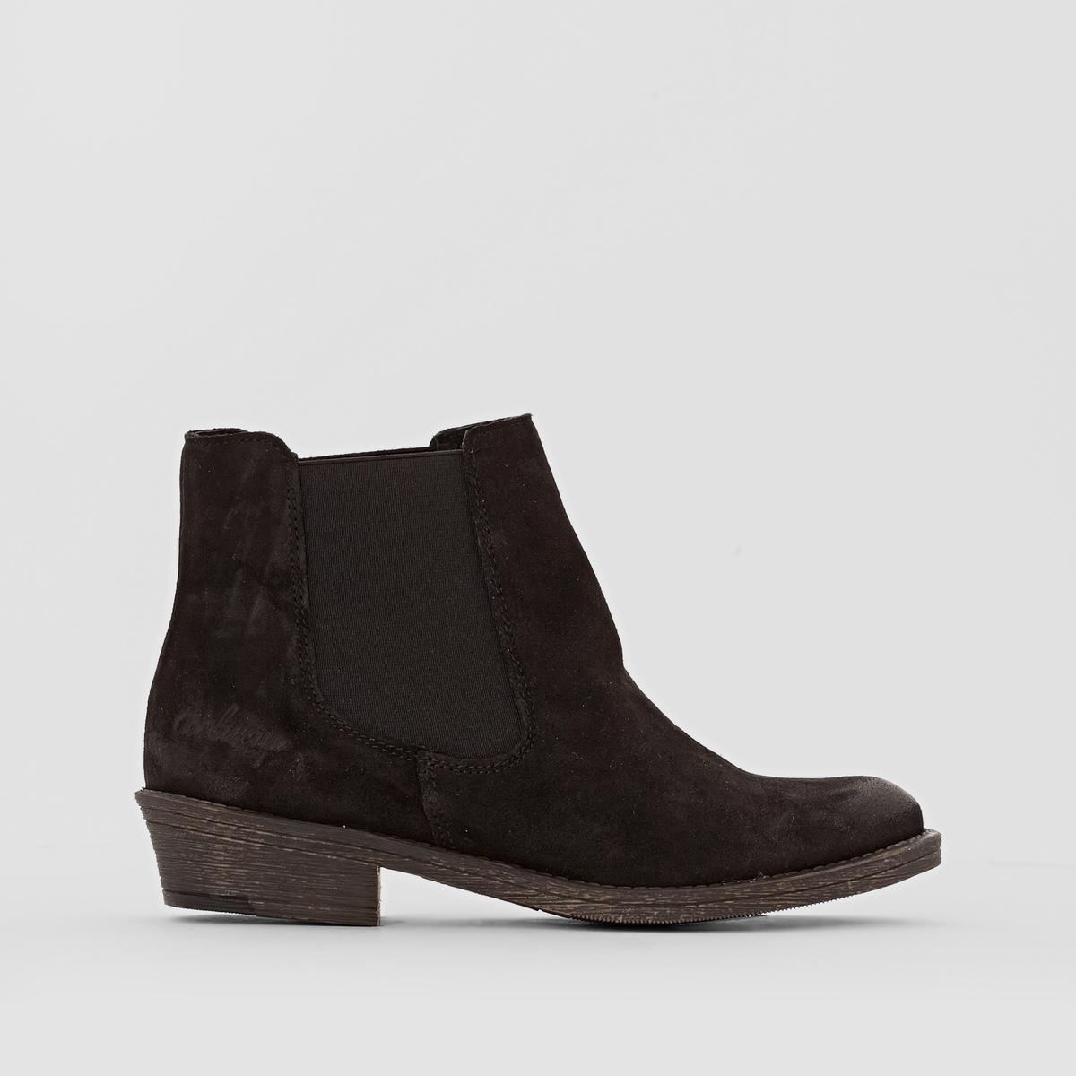 Ботильоны из кожи BRADLEYПодкладка : текстиль.        Стелька : Кожа                  Подошва : Резина             Высота каблука : 3 см     Высота голенища : 11 см.     Форма каблука : Широкий       Носок : Закругленный.     Застежка : Без застежки<br><br>Цвет: черный<br>Размер: 37.39