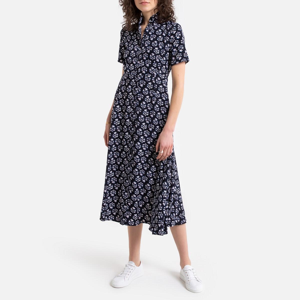 Платье La Redoute Длинное с цветочным принтом тунисский вырез 0(XS) синий