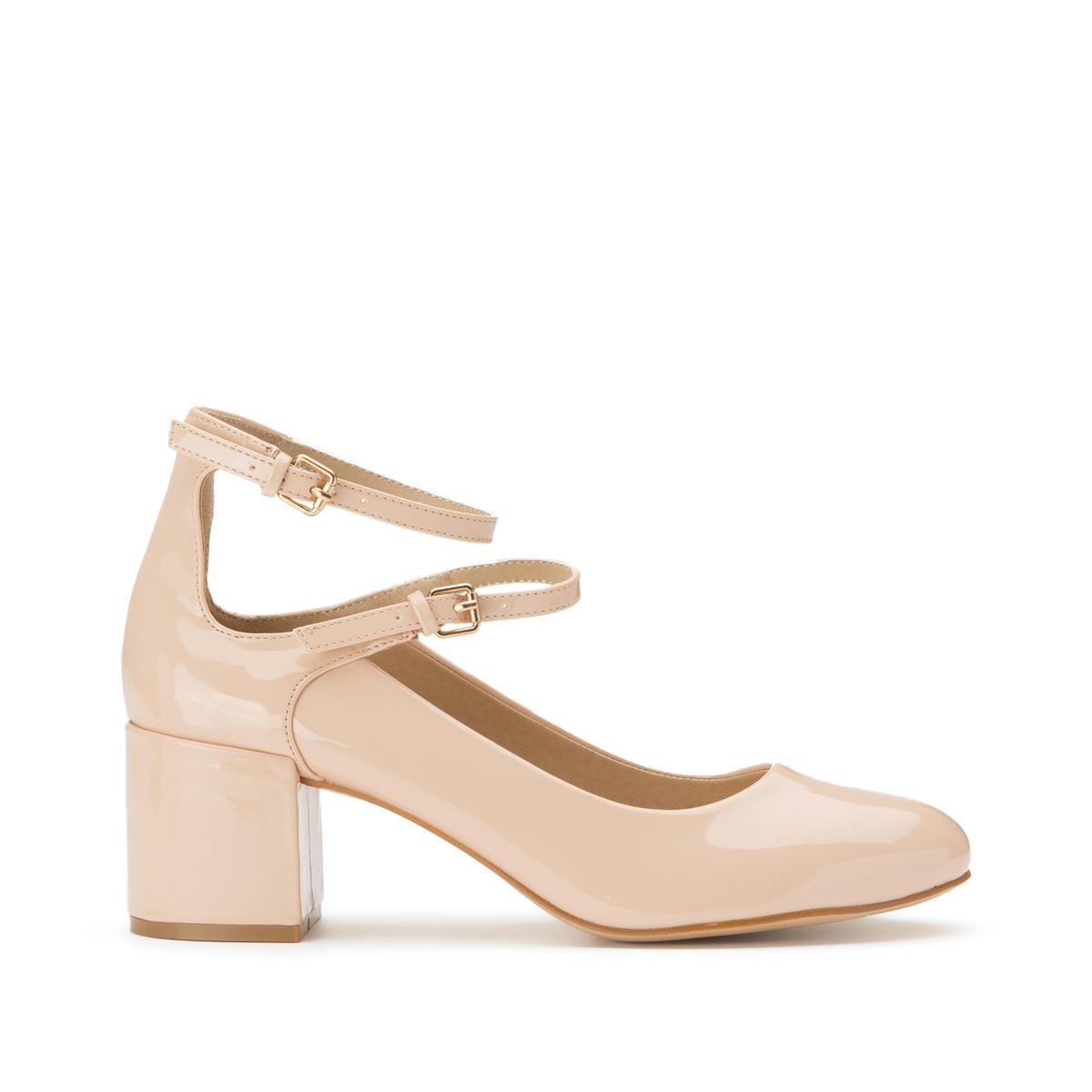 Туфли LaRedoute Лакированные подходят для широкой стопы размеры 38-45 43 розовый