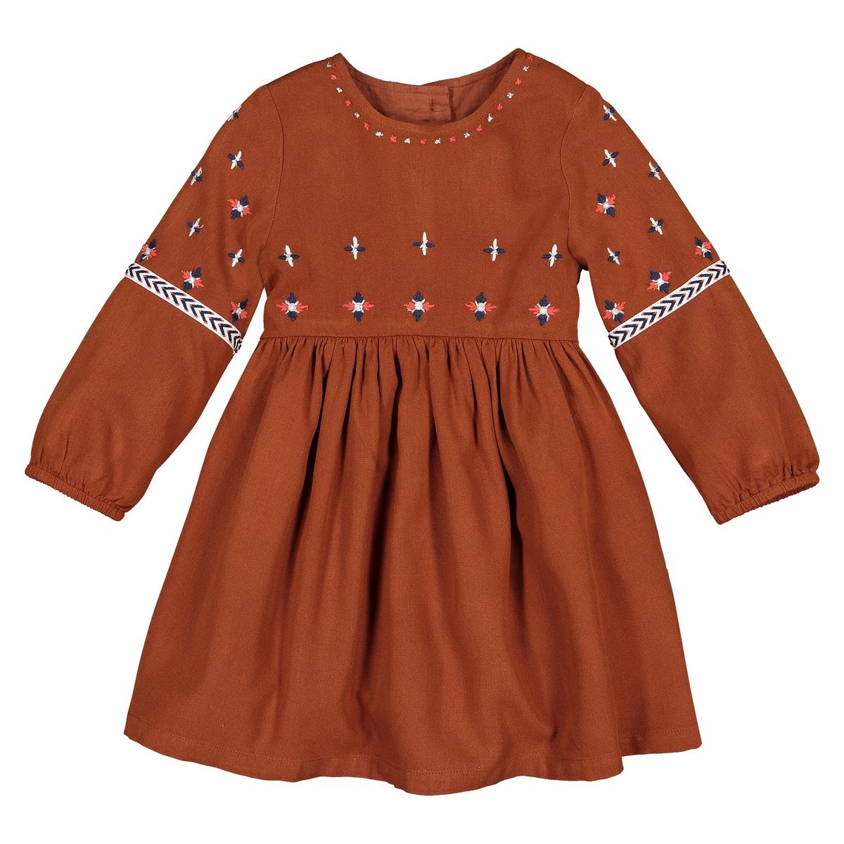 Платье La Redoute Расклешенное с длинными рукавами и вышивкой мес - года 3 года - 94 см каштановый футболка la redoute с длинными рукавами с вышивкой мес года 0 мес 50 см бежевый
