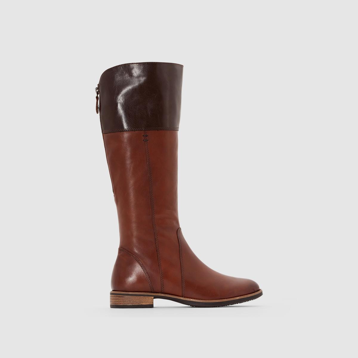Сапоги из кожи, на молнииОтличные сапоги в современном дизайне, облегающие ноги и делающие их невероятно женственными : браво Tamaris !<br><br>Цвет: каштановый,черный<br>Размер: 38