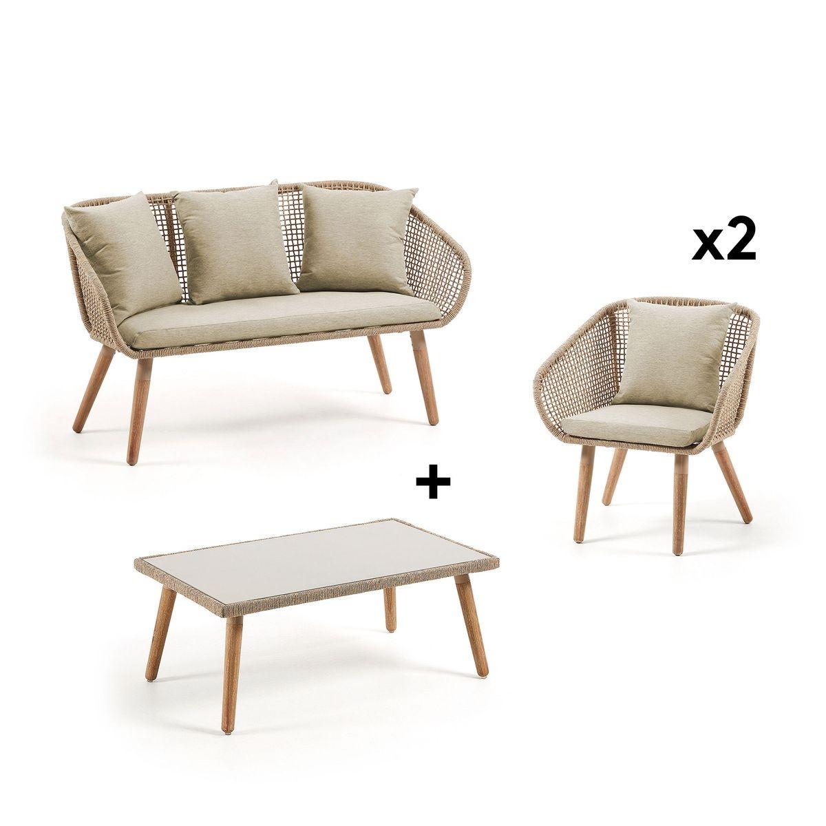 Pack canapé plaqué or avec fauteuil et table basse