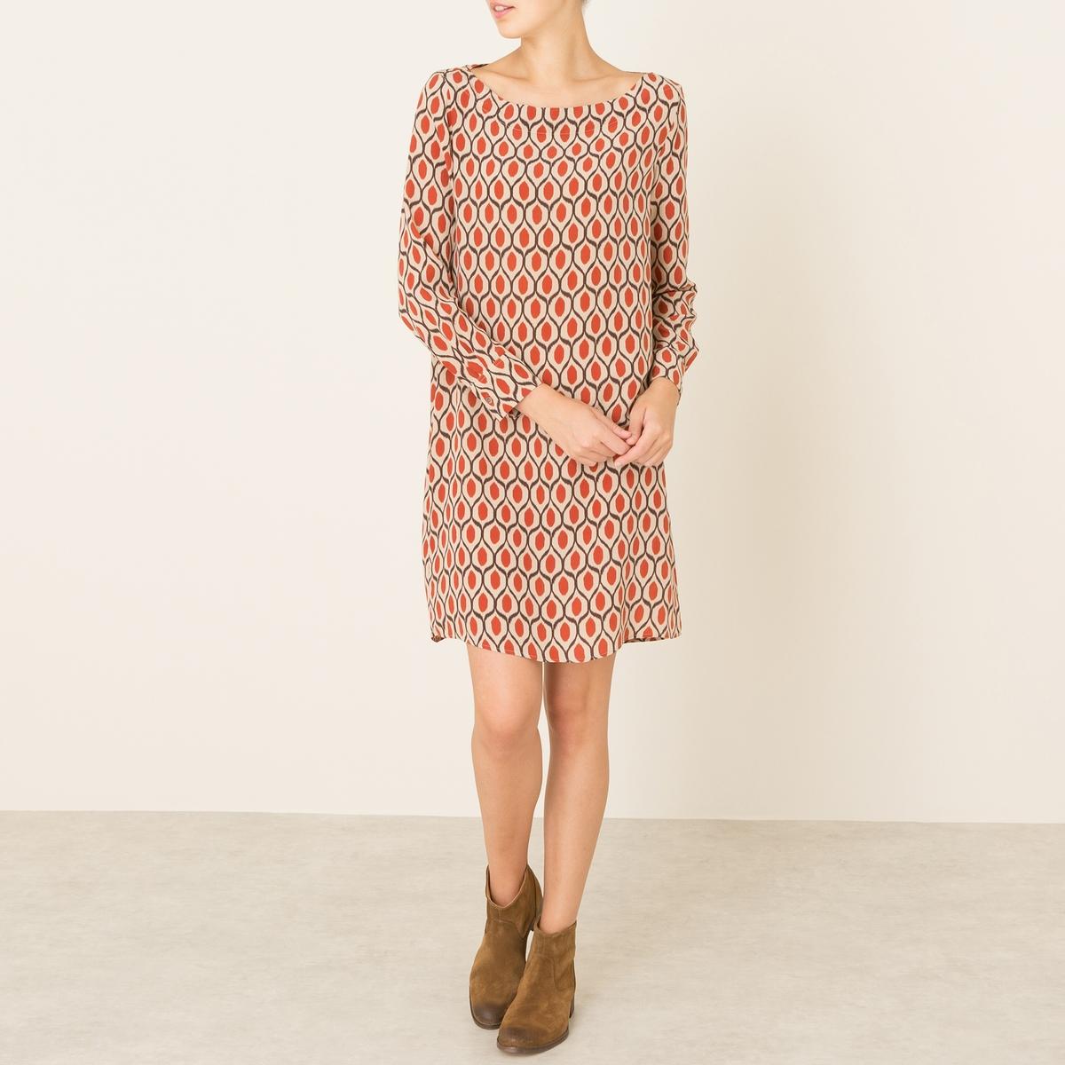 Платье MARTOПлатье DIEGA - модель MARTO. Платье-футляр со сплошным рисунком. Вырез-лодочка. Рукава с отворотами. Состав и описание Материал : 100% шелкМарка : DIEGA<br><br>Цвет: бежевый/ оранжевый