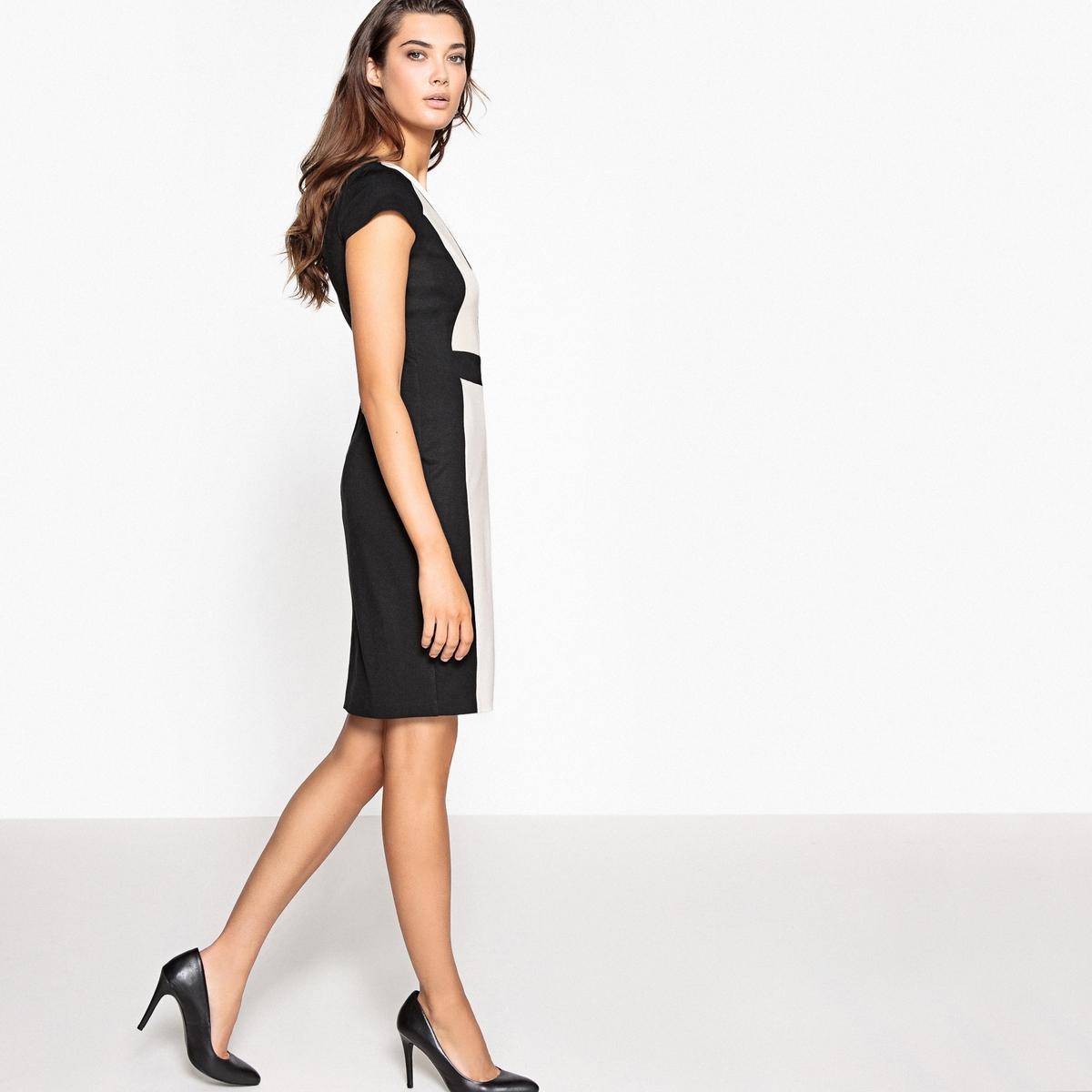Платье облегающее, двухцветноеДетали •  Форма : Облегающий покрой •  Длина до колен •  Короткие рукава    •   V-образный вырезСостав и уход •  65% вискозы, 5% эластана, 30% полиамида •  Температура стирки 30°   •  Сухая чистка и отбеливание запрещены    •  Не использовать барабанную сушку   •  Низкая температура глажки<br><br>Цвет: черный/ бежевый<br>Размер: 40 (FR) - 46 (RUS).42 (FR) - 48 (RUS).46 (FR) - 52 (RUS).48 (FR) - 54 (RUS)