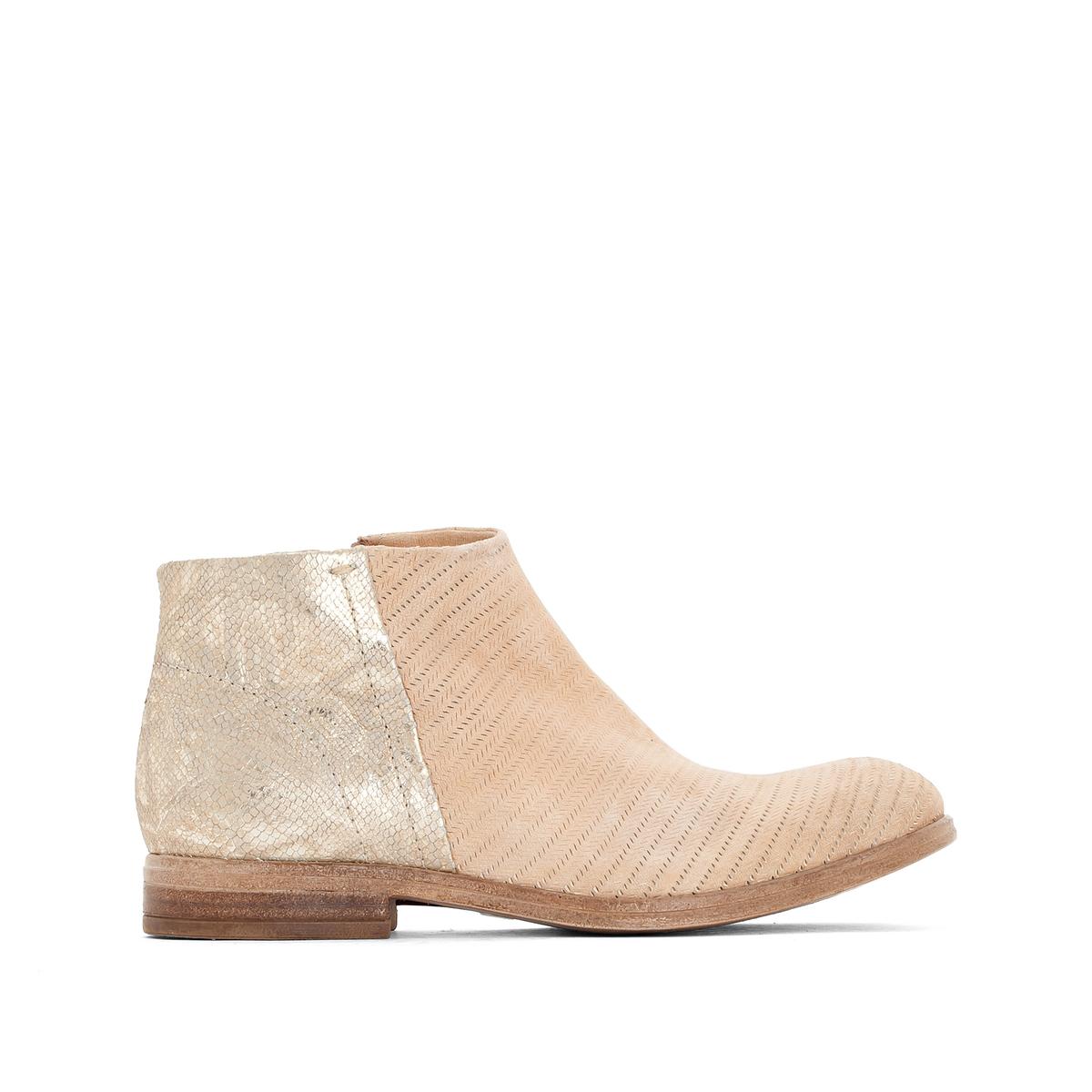 Ботильоны кожаные Nicole из двух материаловВерх/Голенище: кожа.  Подкладка: кожа.  Стелька: кожа.  Подошва: резина.Высота каблука: 2 см.Форма каблука: плоский каблук.Мысок: закругленный.Застежка: на молнию.<br><br>Цвет: бежевый/золотистый,золотистый/синий