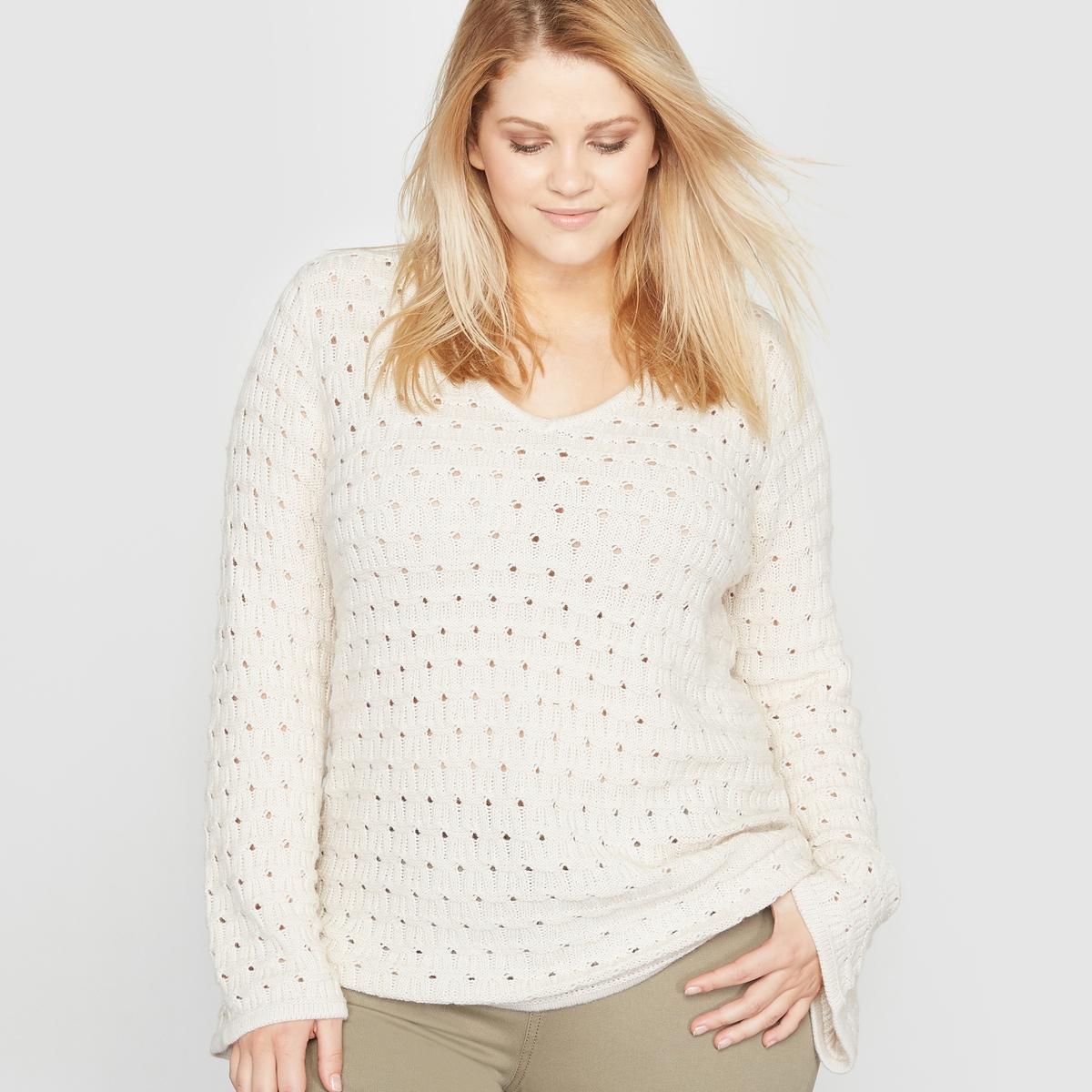 Пуловер из ажурного трикотажа с V-образным вырезом и рукавами-пагода пуловер из вязаного трикотажа с v образным воротником