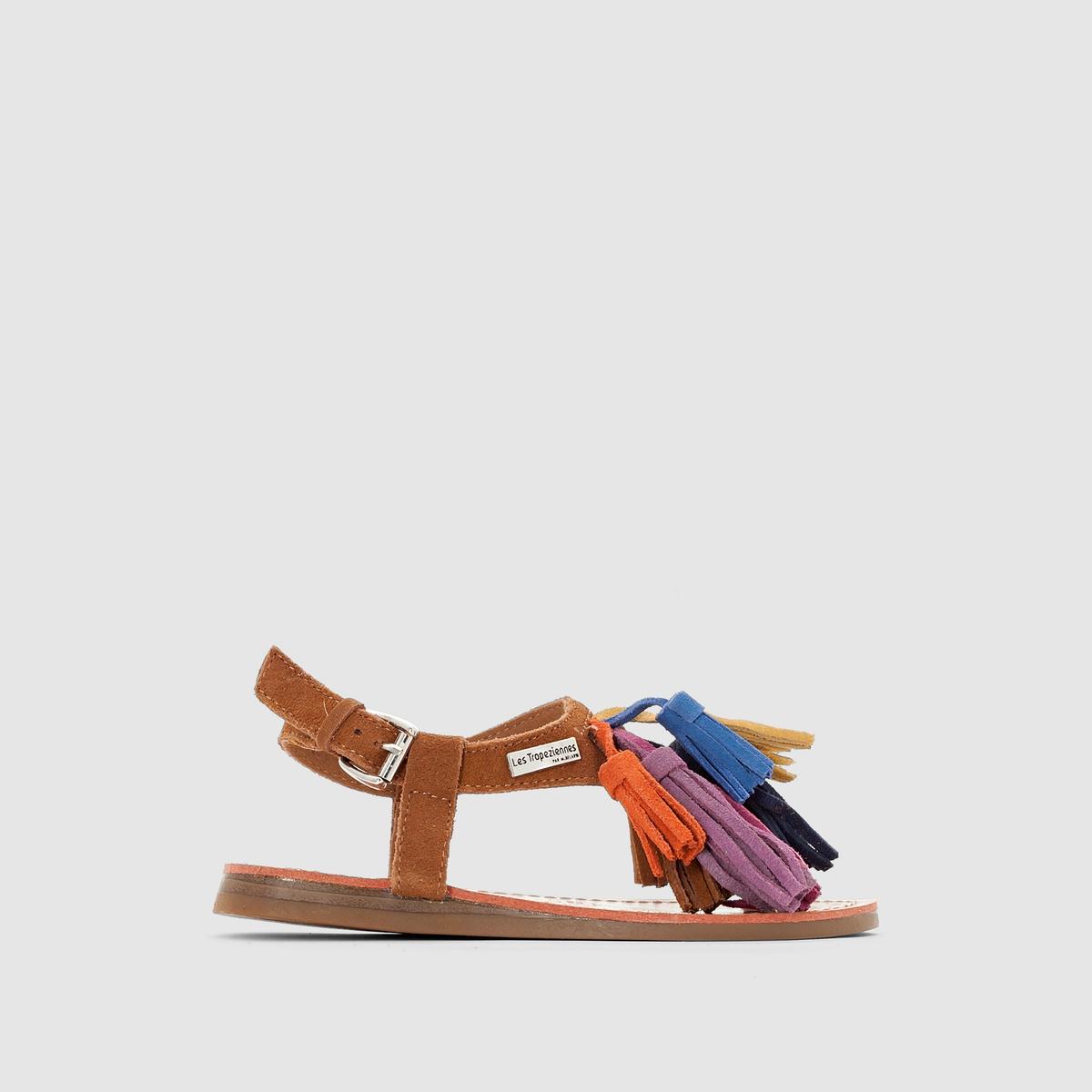 Сандалии кожаные плоские LES TROPEZIENNES, GorbyПреимущества:  вы не устоите перед оригинальным стилем этих сандалий от LES TROPEZIENNES с разноцветными помпонами спереди и ремешком с пряжкой на щиколотке .<br><br>Цвет: темно-бежевый,фиолетовый<br>Размер: 30.31.31
