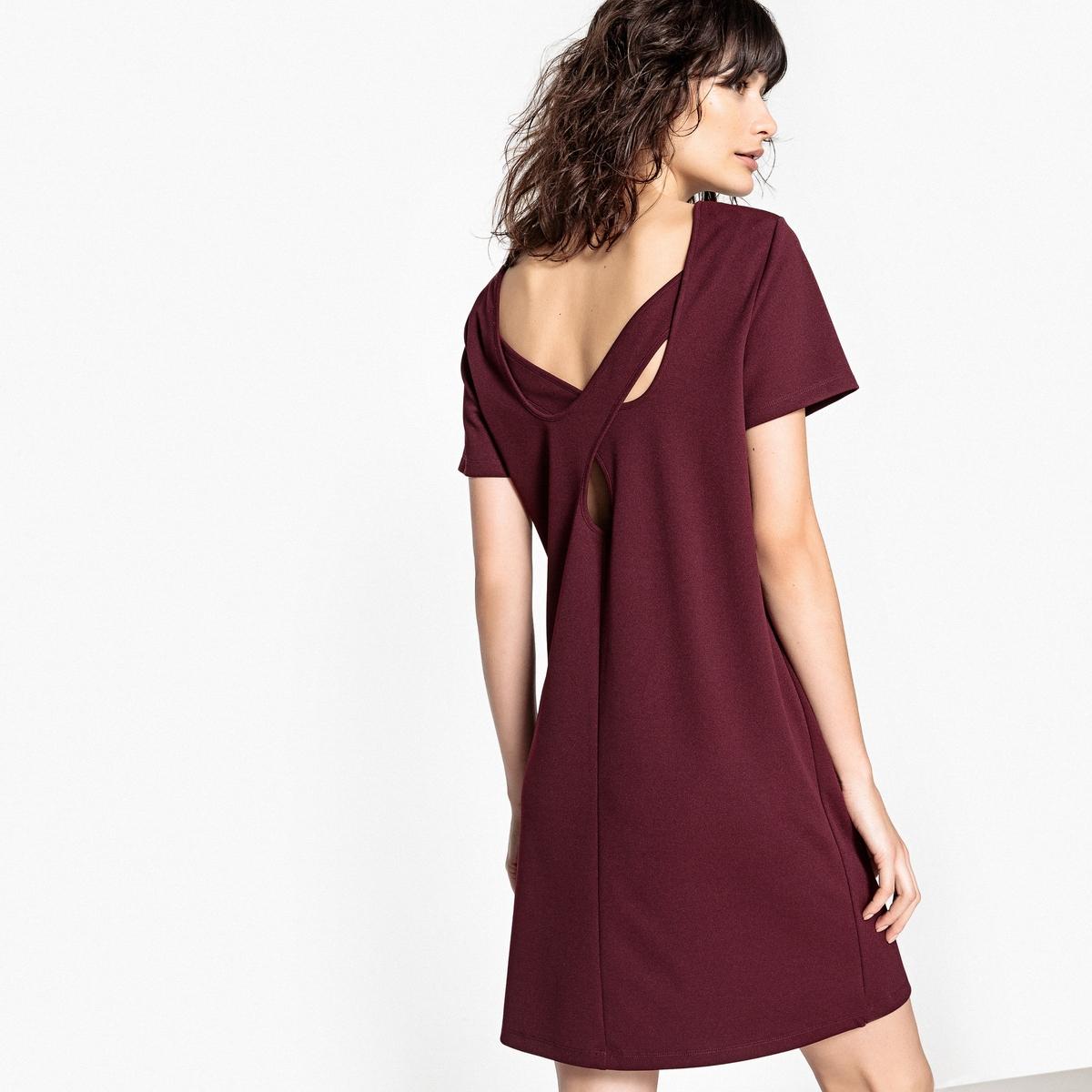 Платье с короткими рукавами, оригинальная спинка платья с принтами