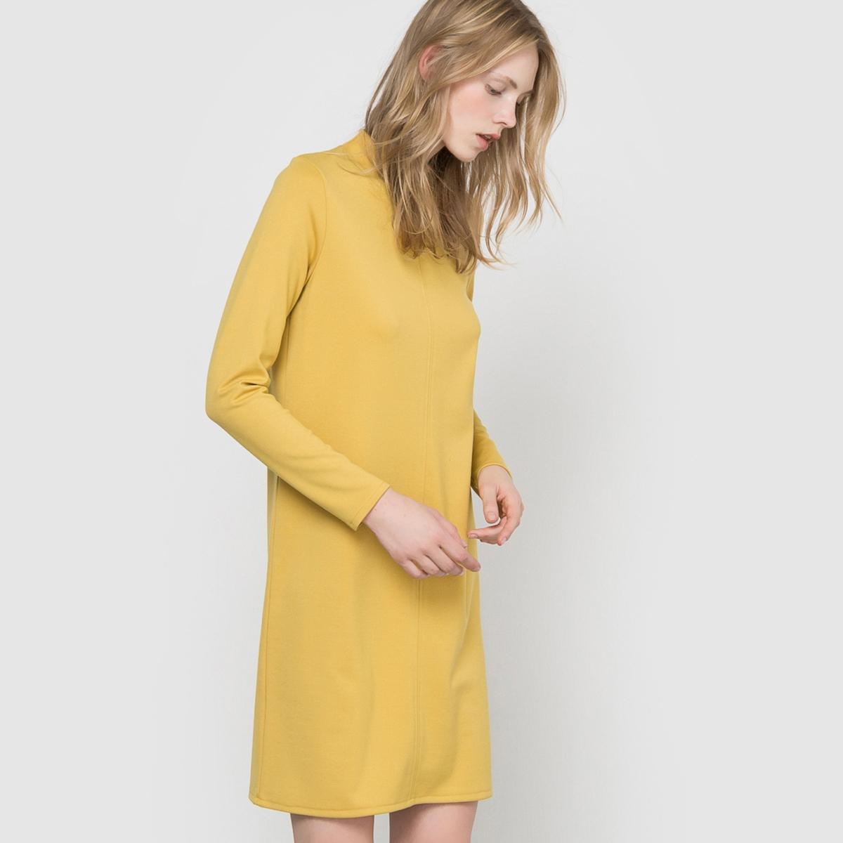 Платье из плотного трикотажаСостав и описаниеМарка: R Essentiel.Длина: 90 см.Материалы: 75% полиэстера, 20% вискозы, 5% эластана.УходСтирать при 30°Cс вещамиподобныхцветов. Стирать, сушить и гладить с изнаночной стороны.Гладить при низкой температуре.Машинная сушка запрещена.<br><br>Цвет: желто-коричневый,черный<br>Размер: 42/44 (FR) - 48/50 (RUS)