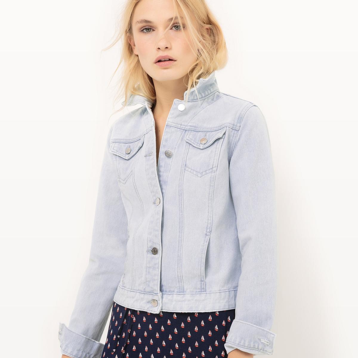 Жакет из денимаМатериал : 100% хлопок  Покрой : прямой  Форма воротника : воротник-поло, рубашечный  Тип жакета   : джинсовый  Длина жакета   : стандартная  Рисунок : однотонная модель<br><br>Цвет: голубой<br>Размер: L.S