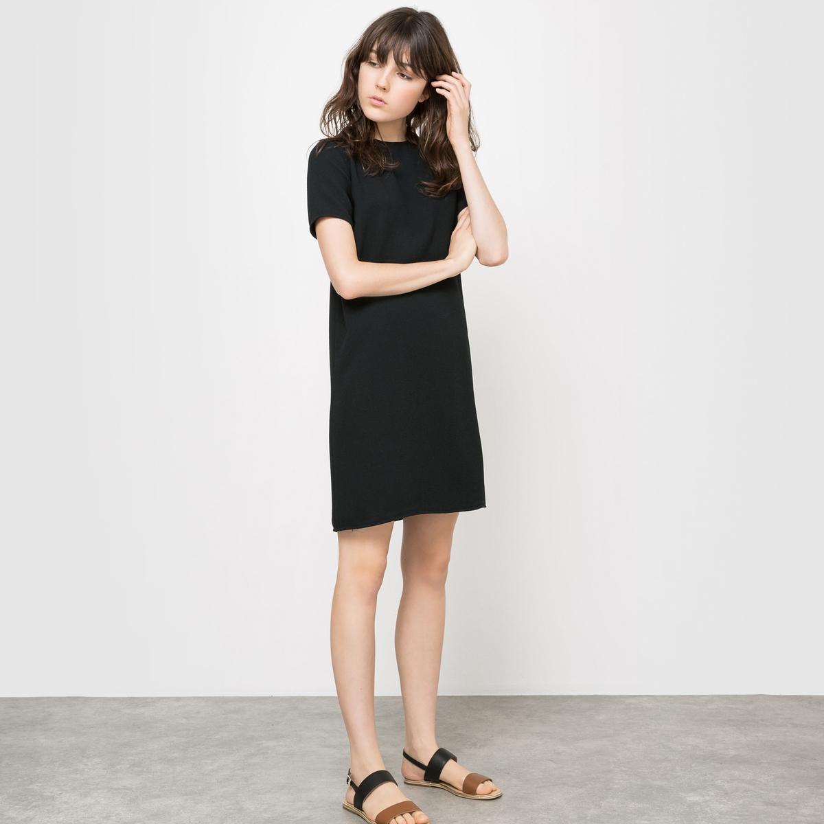 Платье с короткими рукавамиПлатье с короткими рукавами .Изящный прямой покрой, комфортный при носке . Небольшой круглый вырез . Застежка на молнию сзади. . 100% полиэстера с рельефным эффектом . Подкладка 100% полиэстера только для цвета слоновой кости  . Длина 92 см .<br><br>Цвет: бордовый,темно-синий,черный<br>Размер: 50 (FR) - 56 (RUS).46 (FR) - 52 (RUS).44 (FR) - 50 (RUS).48 (FR) - 54 (RUS)